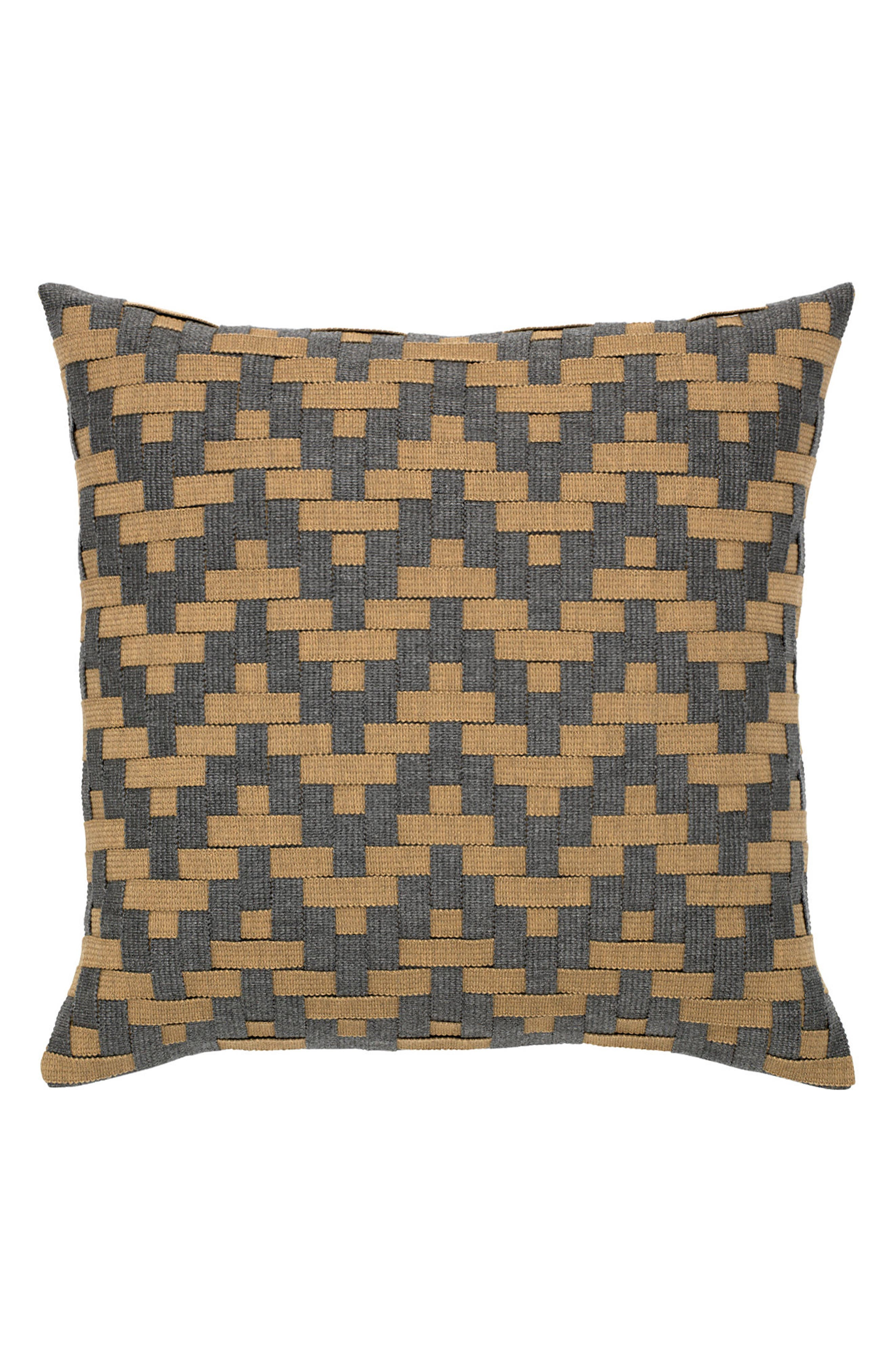 Smoke Basket Weave Indoor/Outdoor Accent Pillow,                             Main thumbnail 1, color,                             BROWN/ GREY