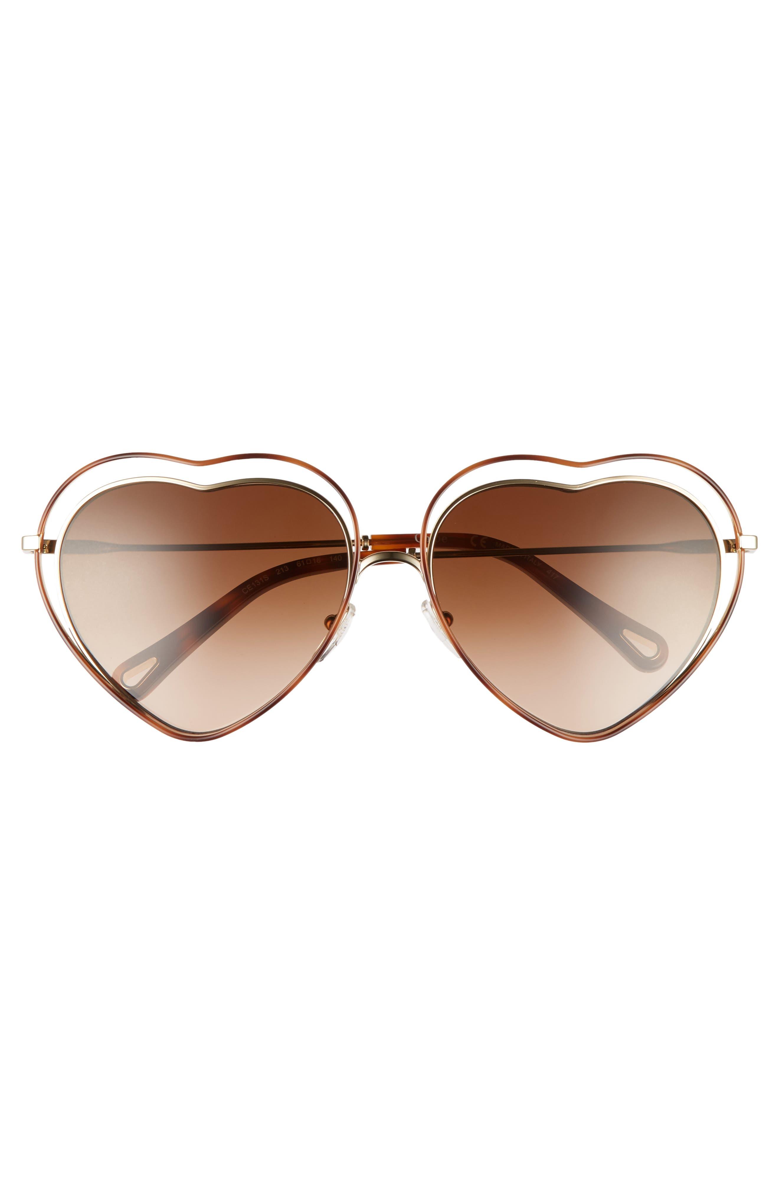 Poppy Love Heart Sunglasses,                             Alternate thumbnail 3, color,                             213
