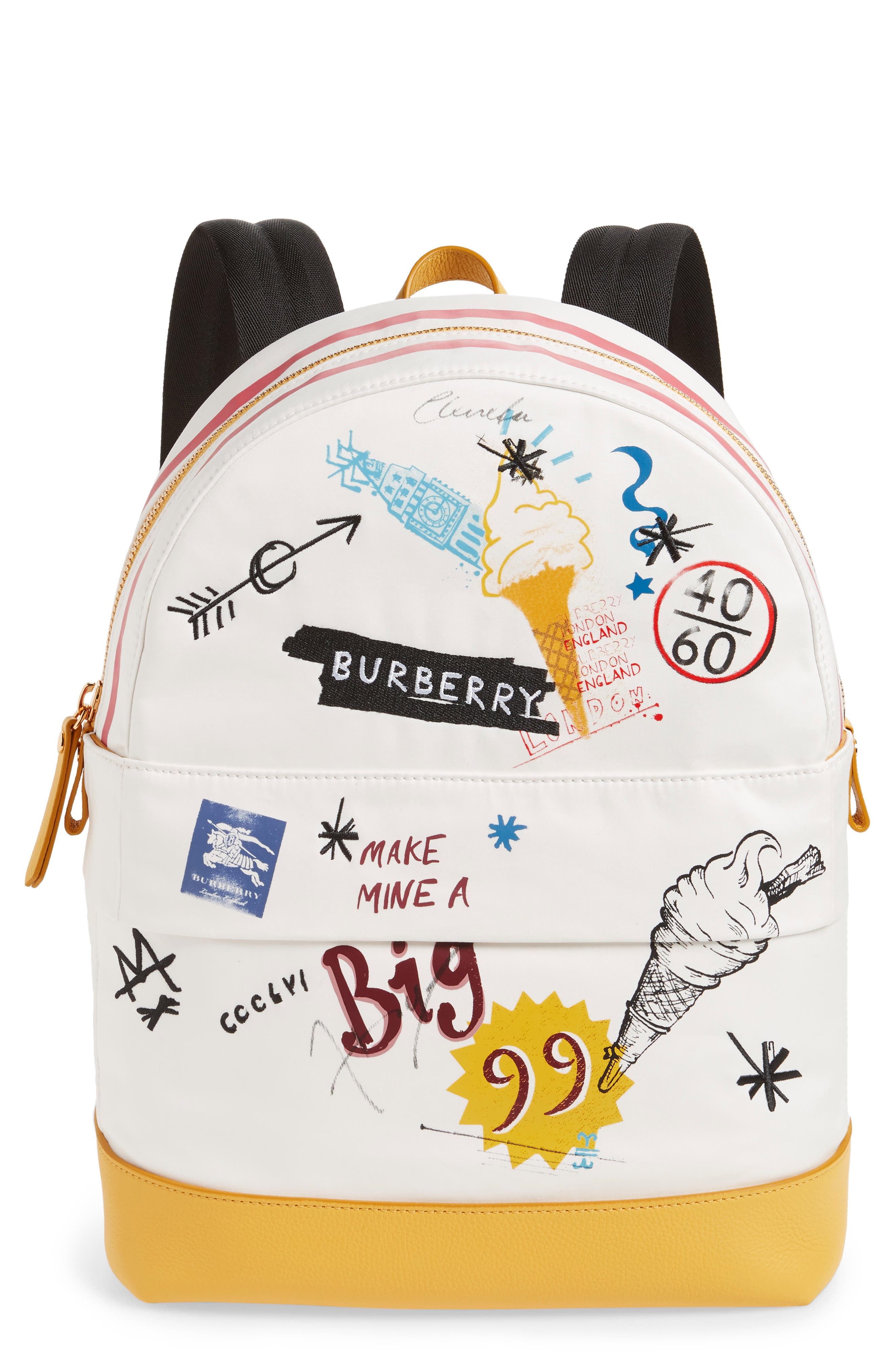 Burberrry Graphic Canvas Backpack,                         Main,                         color, LARCH YELLOW