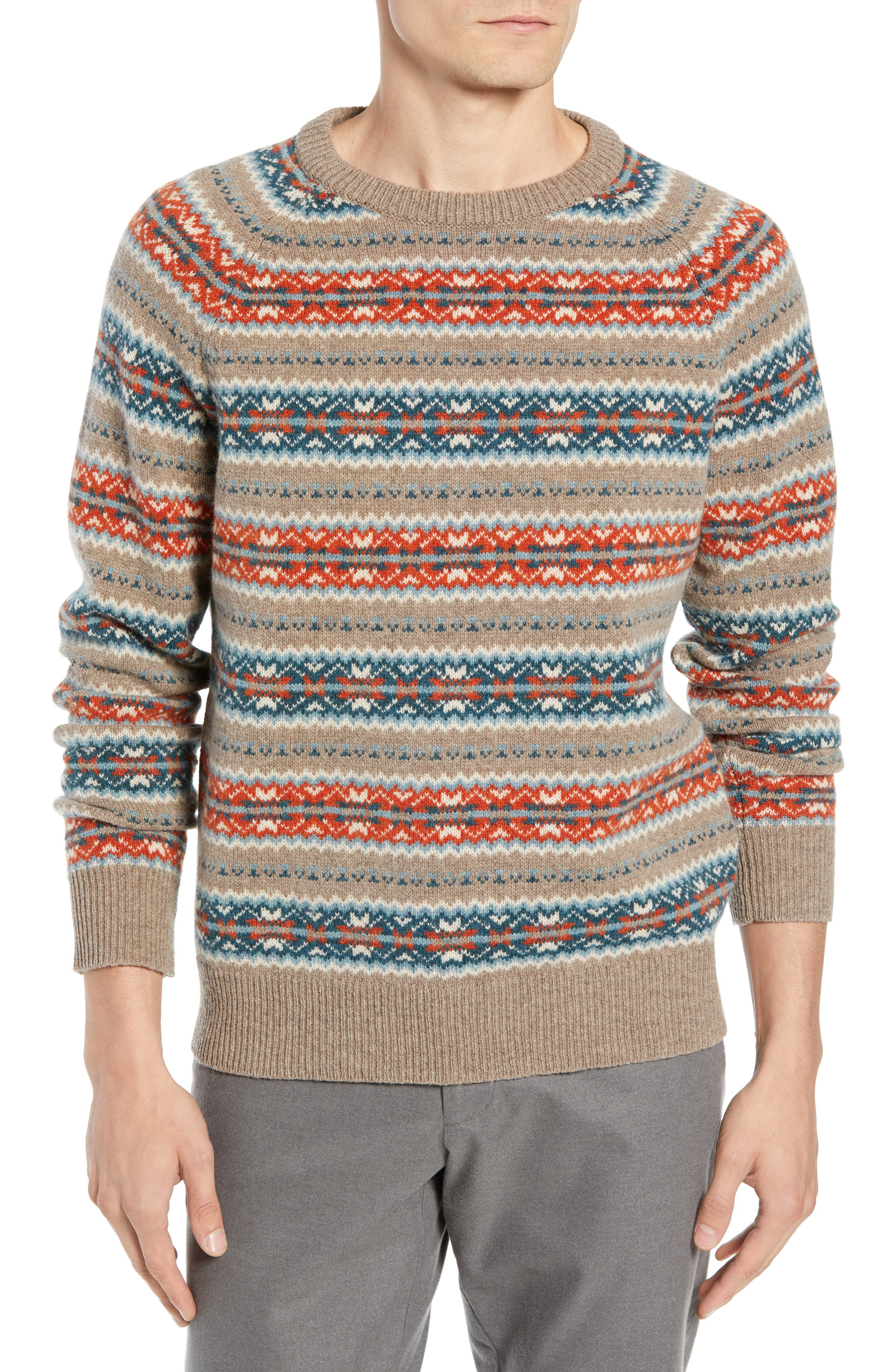 Fair Isle Lambswool Sweater,                             Main thumbnail 1, color,                             ASH