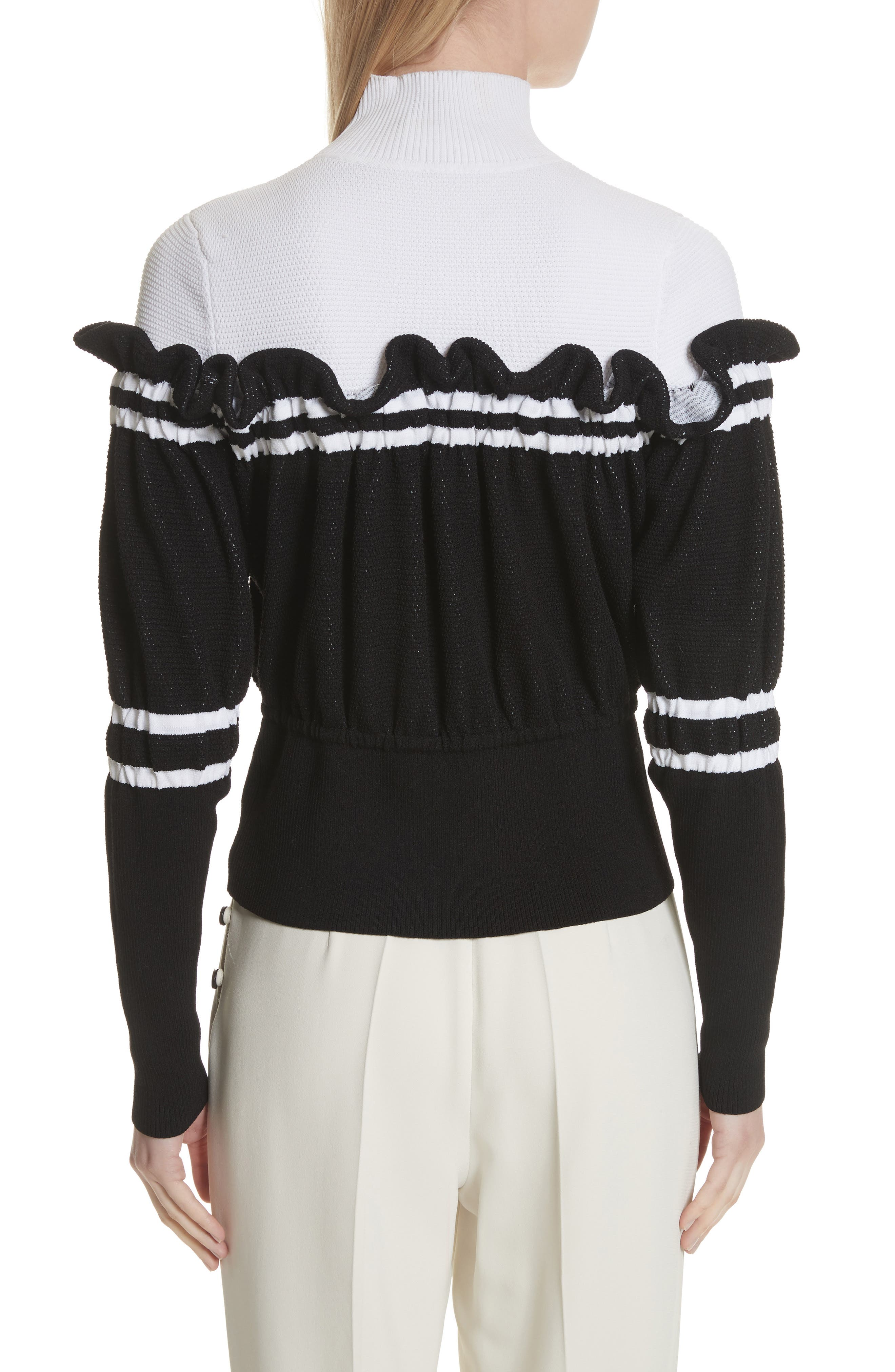 Ruffle Overlay Knit Turtleneck,                             Alternate thumbnail 2, color,