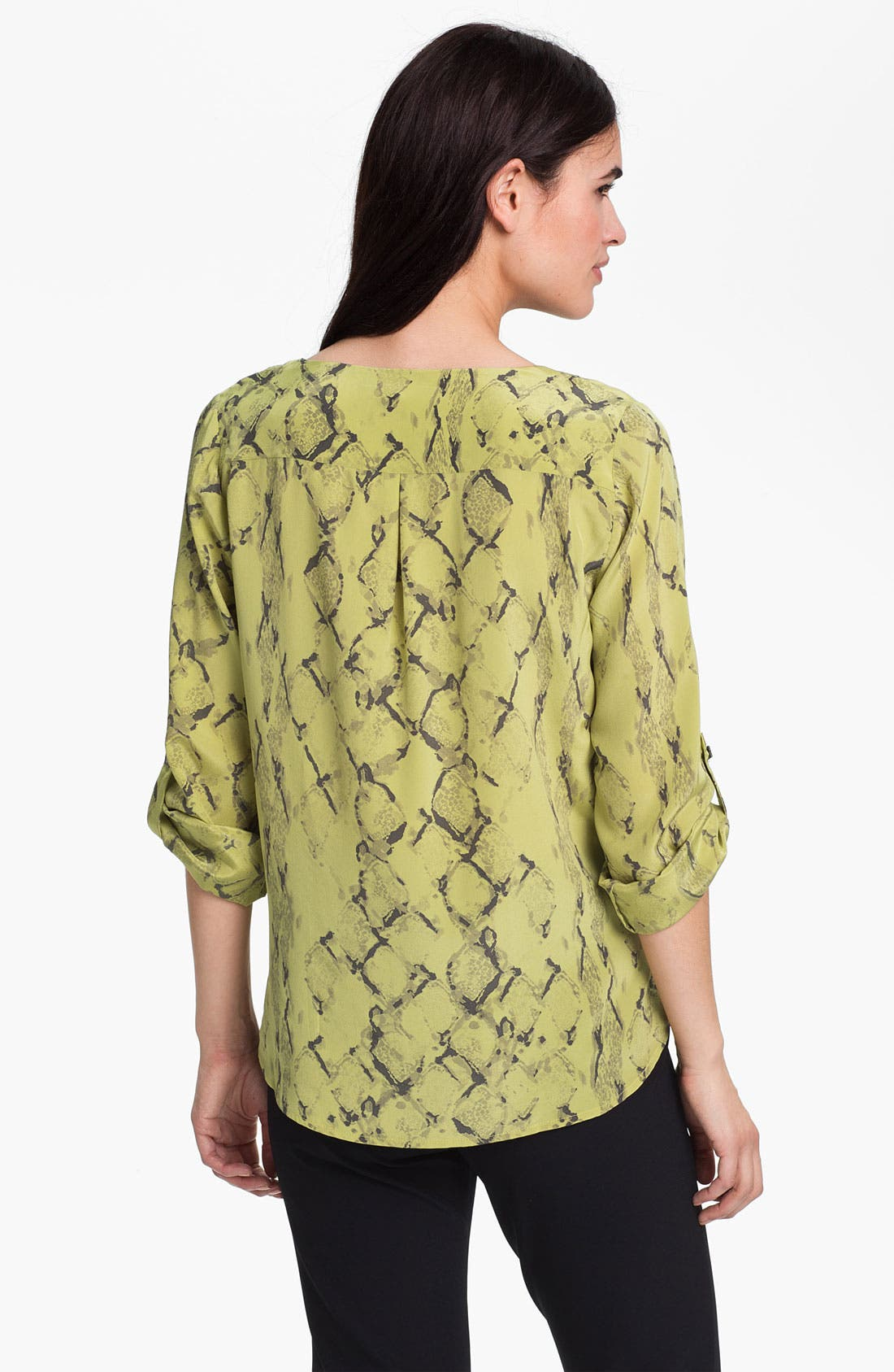Roll Sleeve Silk Blouse,                             Alternate thumbnail 3, color,                             700