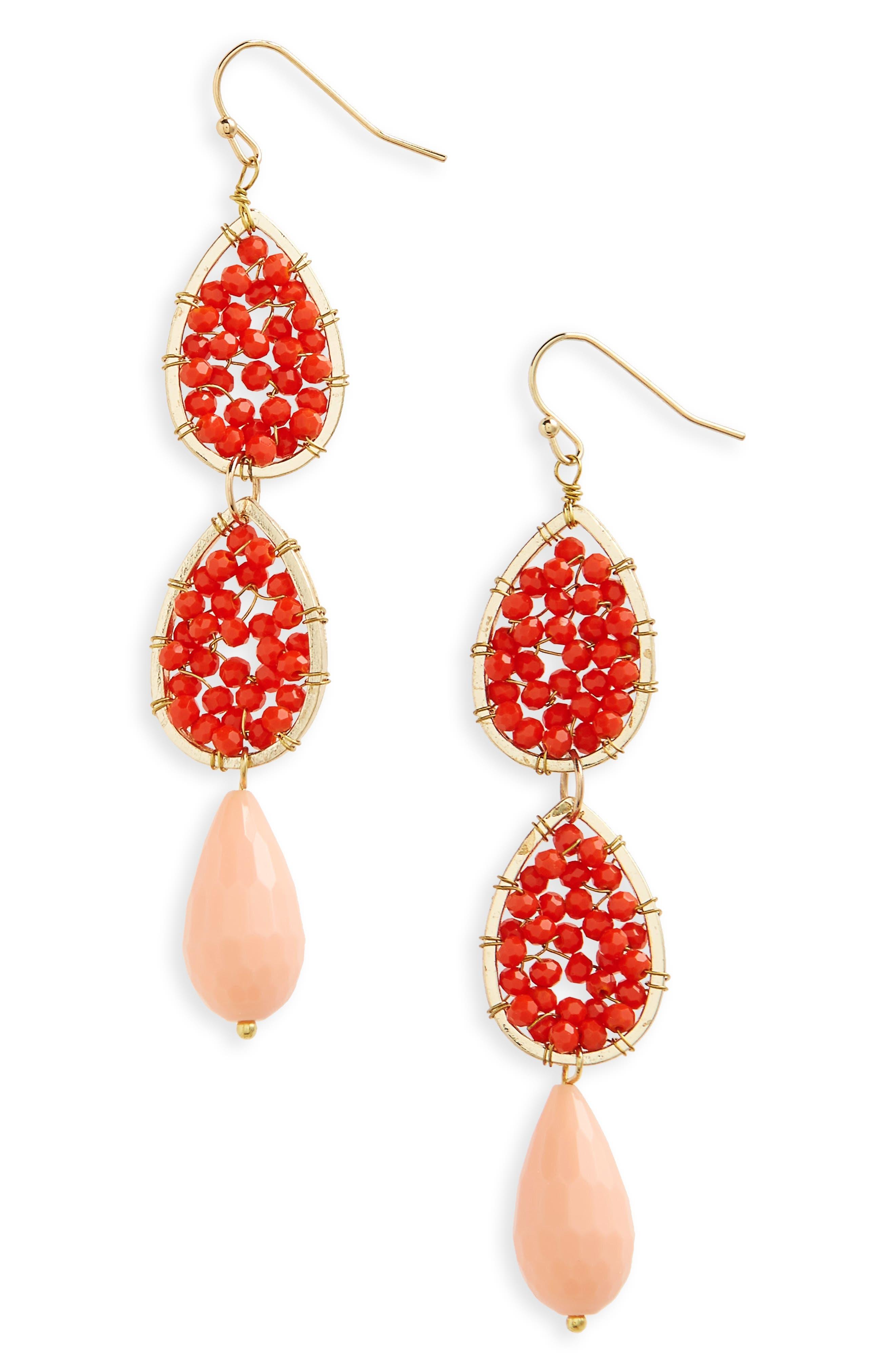 Beaded Linear Earrings,                         Main,                         color, 600