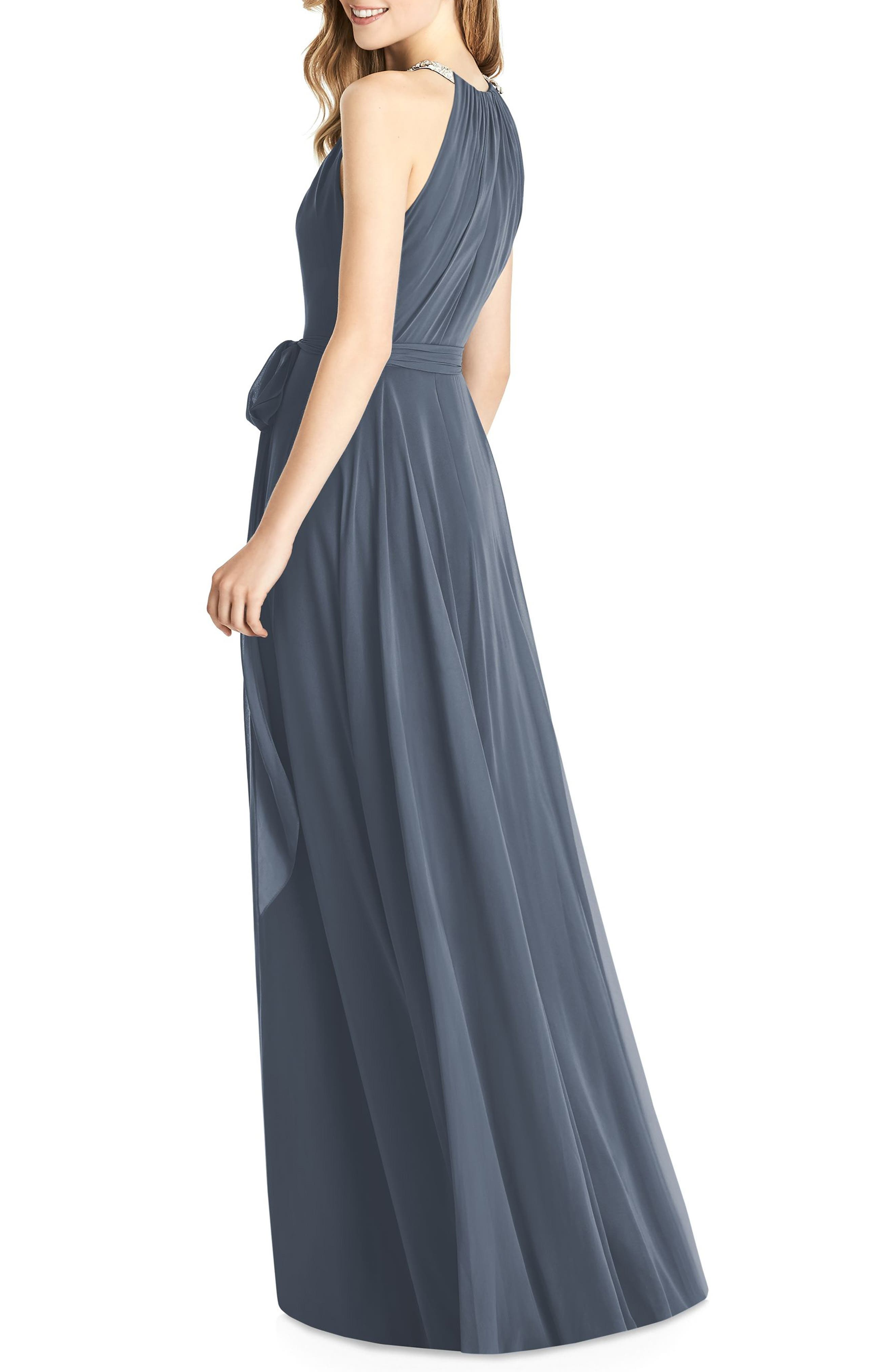 JENNY PACKHAM,                             Beaded Strap Chiffon Gown,                             Alternate thumbnail 2, color,                             SILVERSTONE