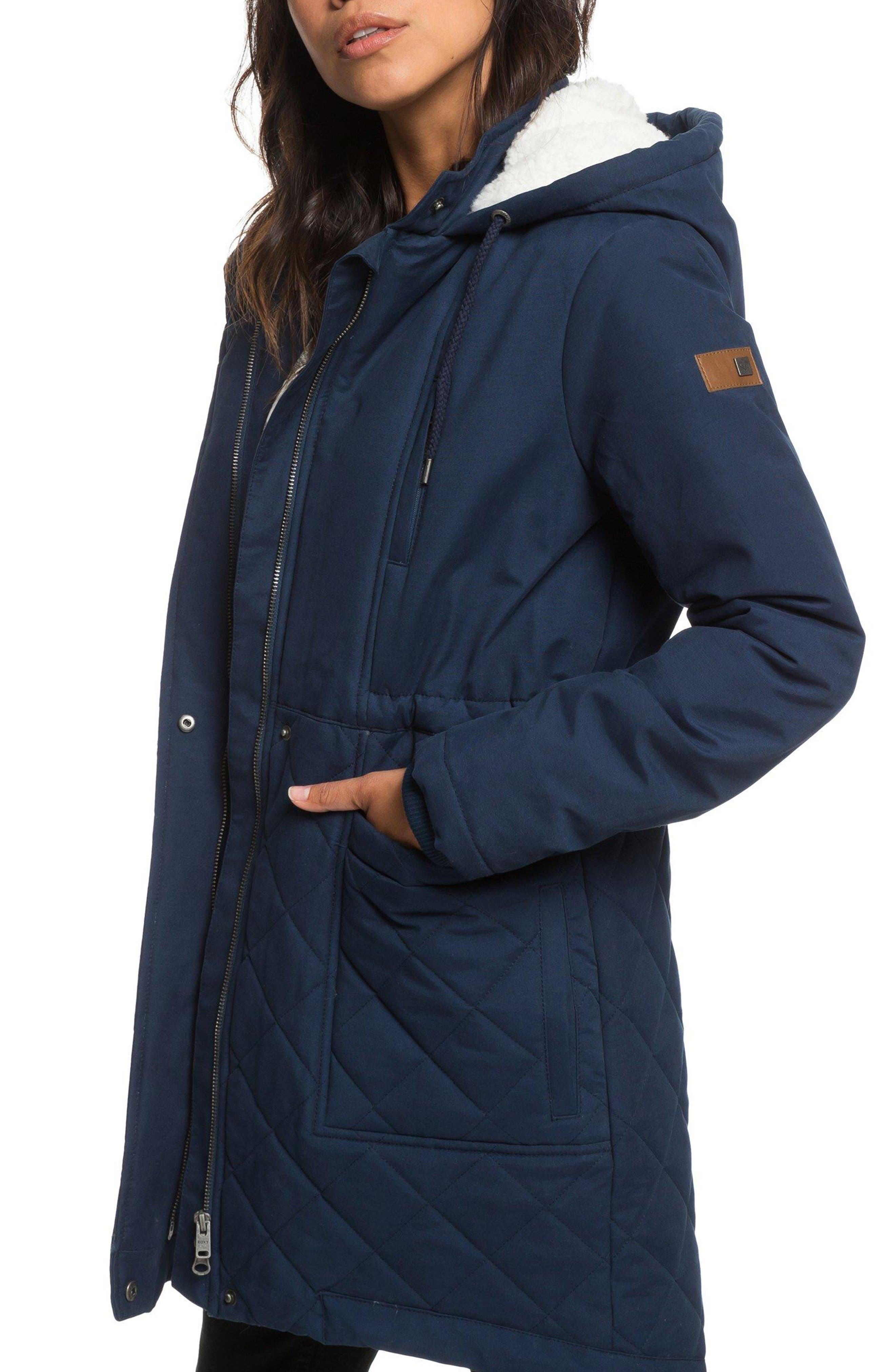 Slalom Chic Faux Shearling Trim Waterproof Parka,                             Alternate thumbnail 3, color,                             DRESS BLUES