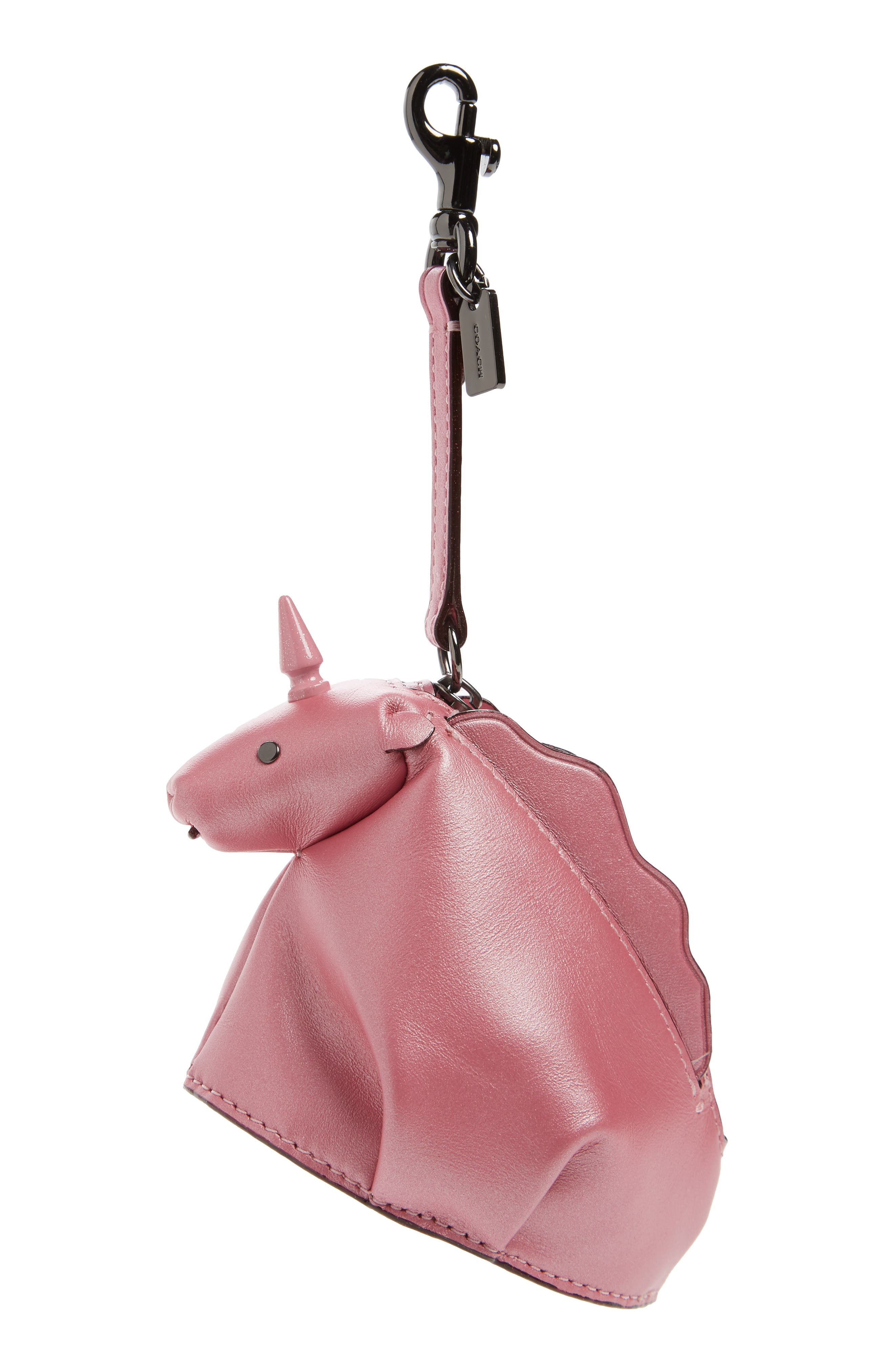 Unicorn Leather Coin Case/Bag Charm,                             Main thumbnail 1, color,                             650