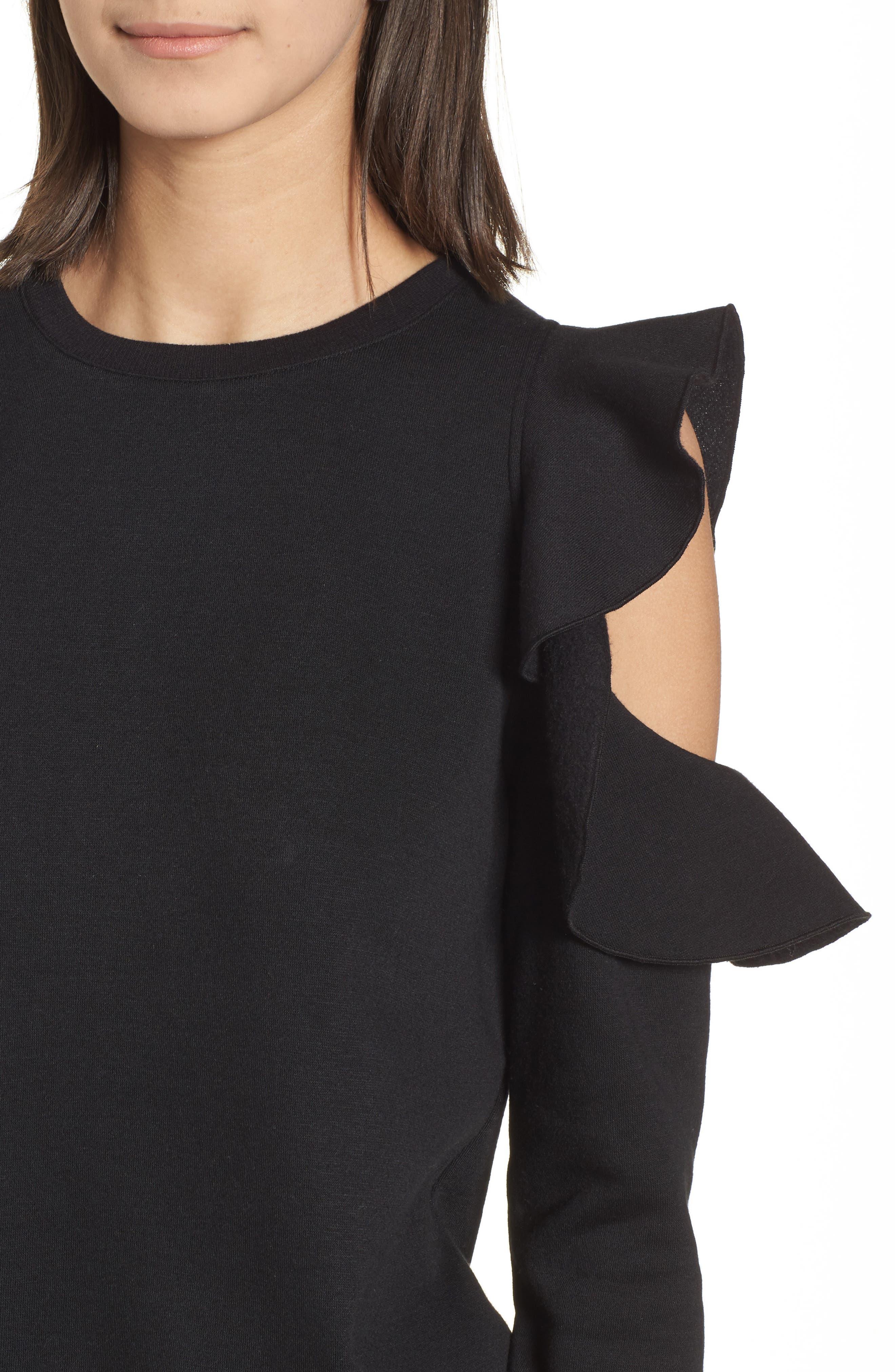 Gracie Cold Shoulder Sweatshirt,                             Alternate thumbnail 4, color,                             001