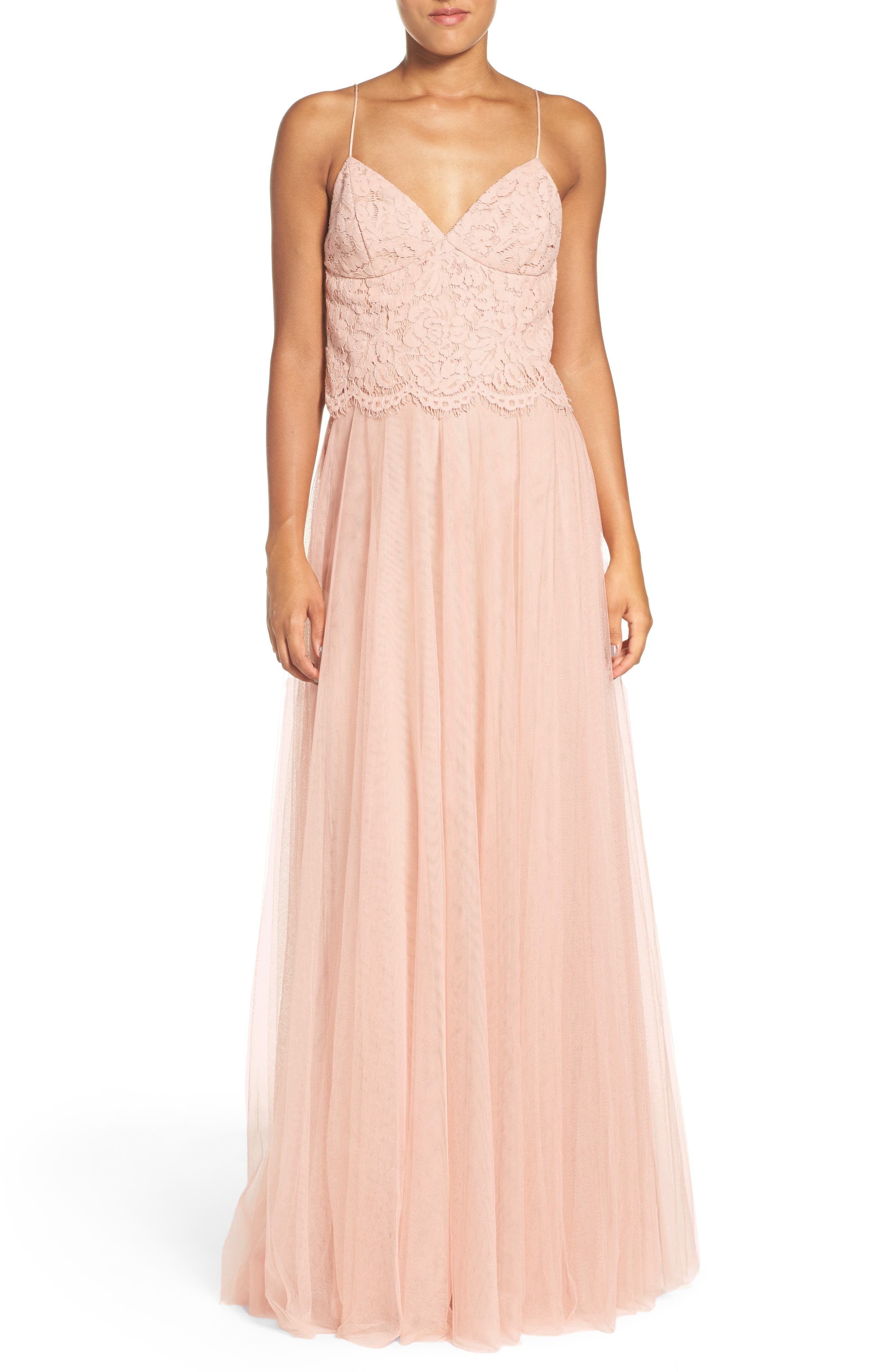 Winslow Long Tulle A-Line Skirt,                             Alternate thumbnail 7, color,                             CAMEO PINK