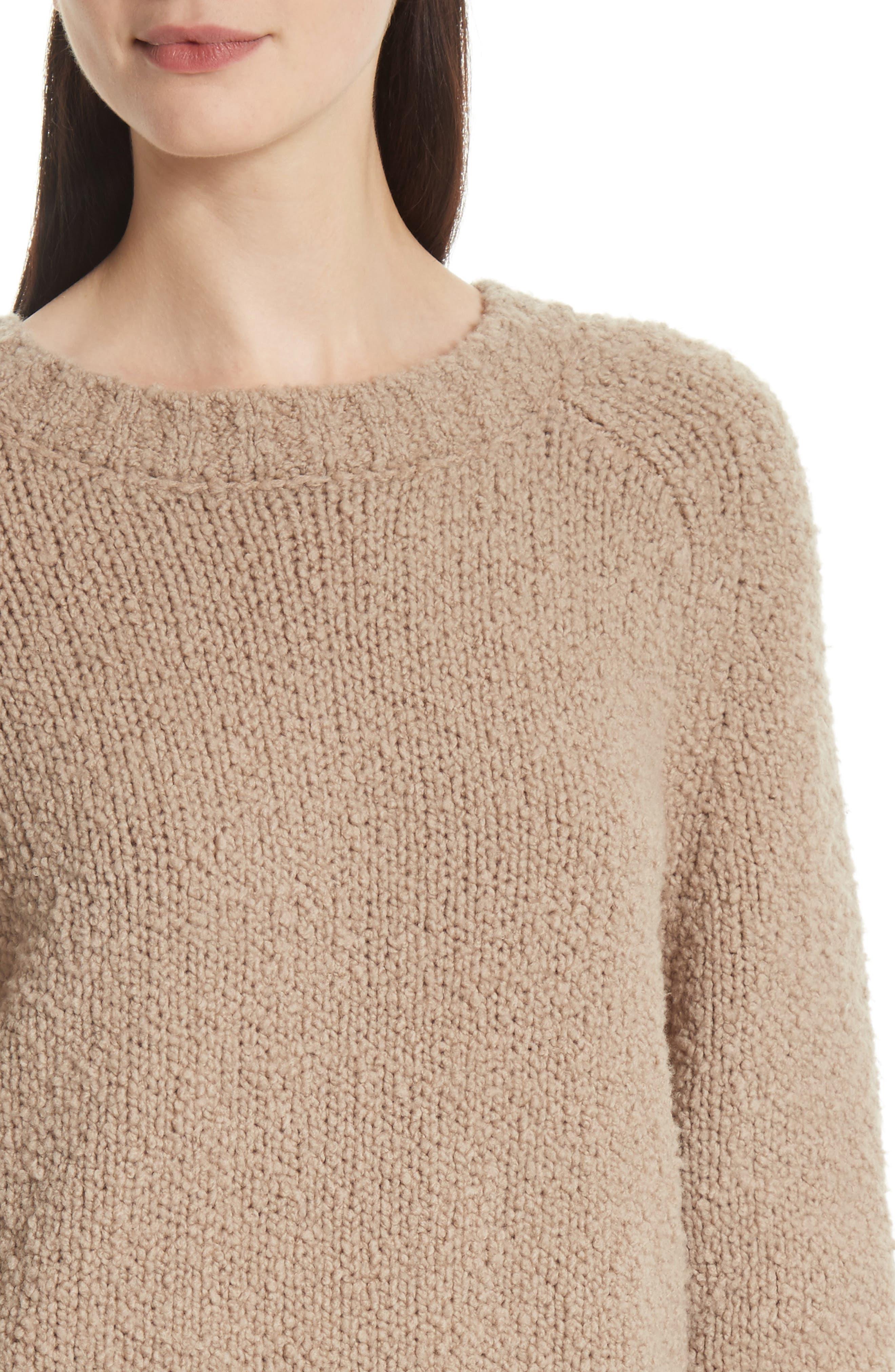 Saddle Sleeve Wool Sweater,                             Alternate thumbnail 4, color,