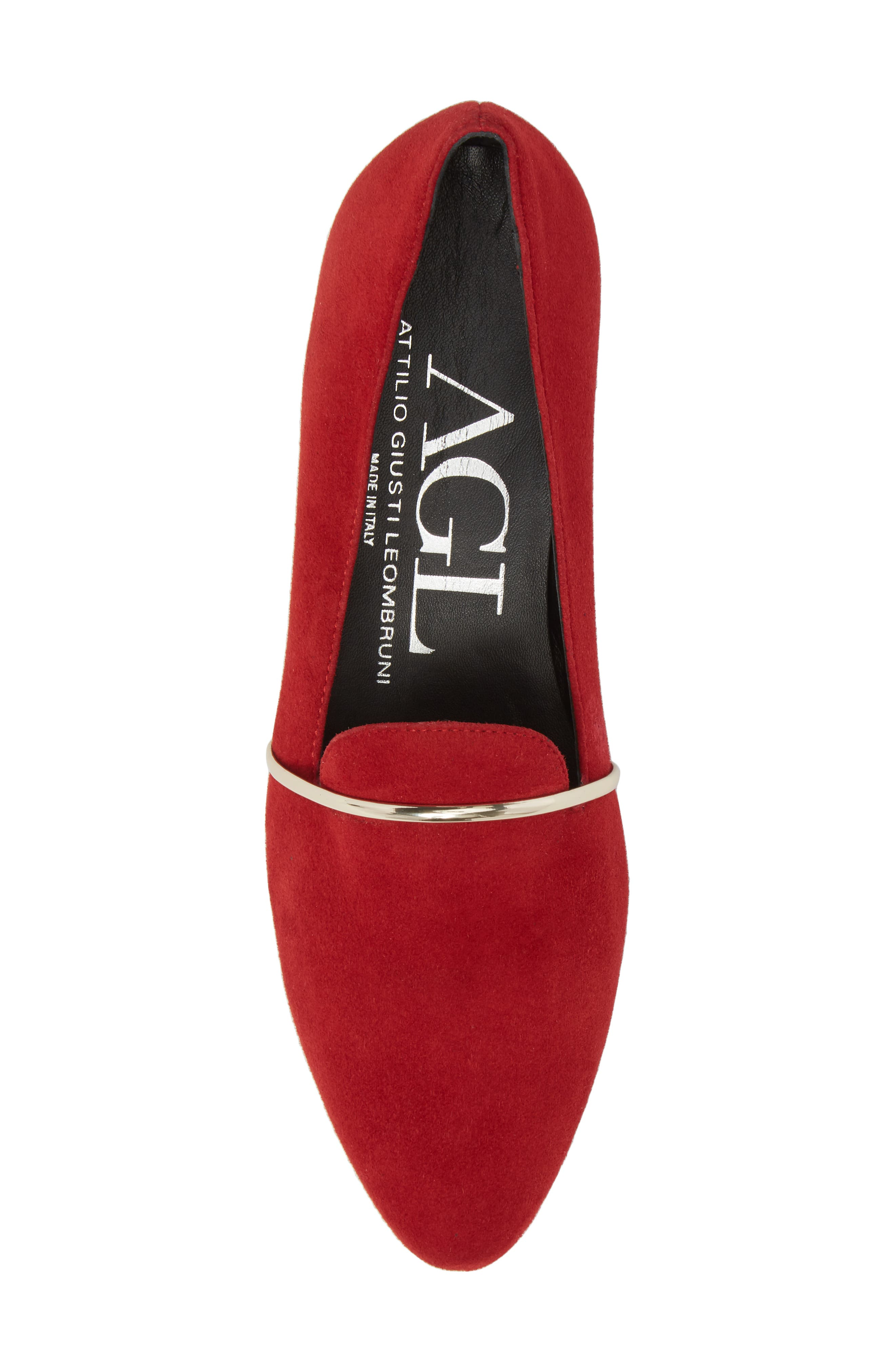 Smoking Slipper,                             Alternate thumbnail 5, color,                             RED SUEDE