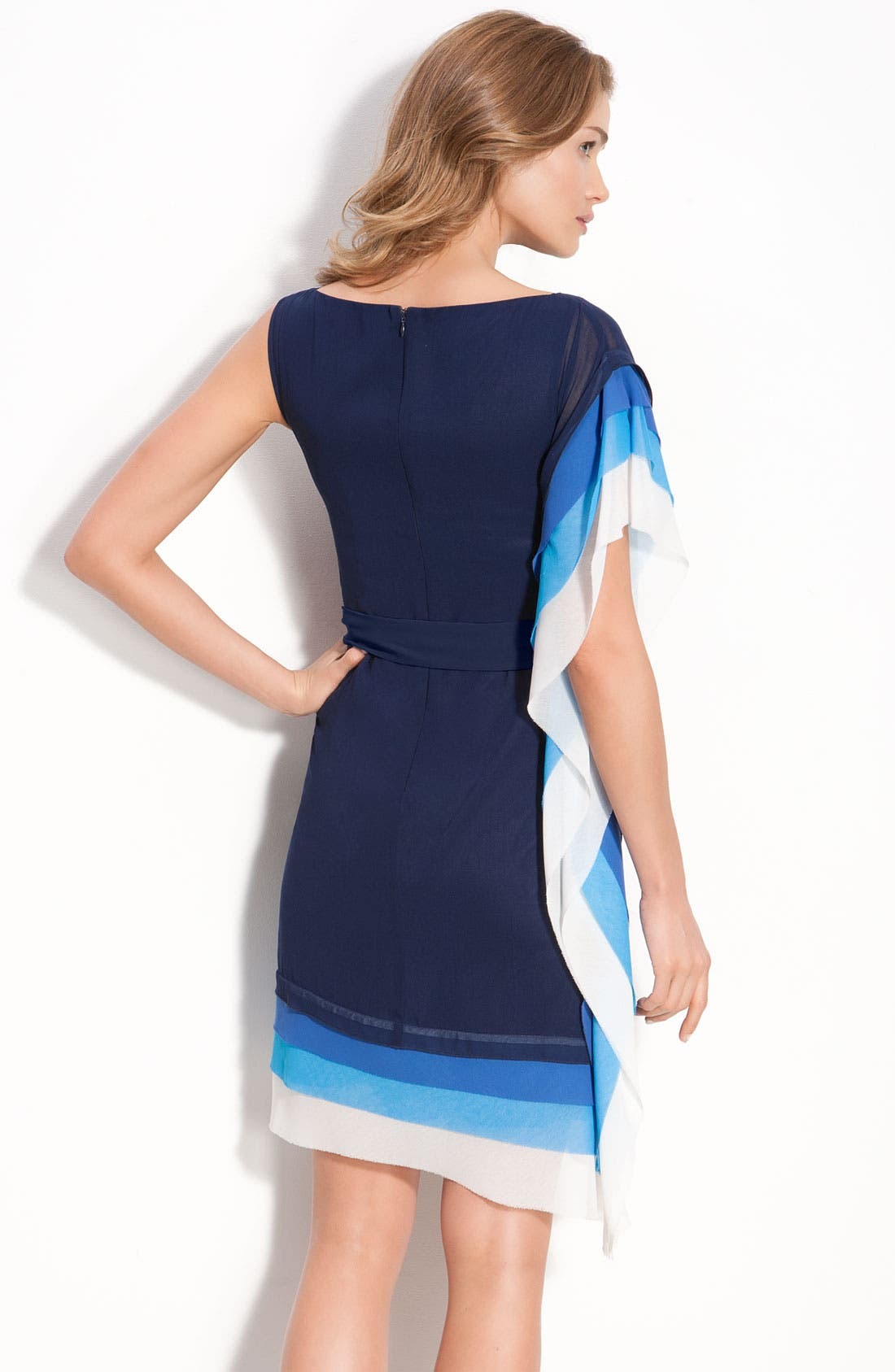 VINCE CAMUTO,                             Asymmetric Layered Tier Dress with Sash Tie,                             Alternate thumbnail 3, color,                             405