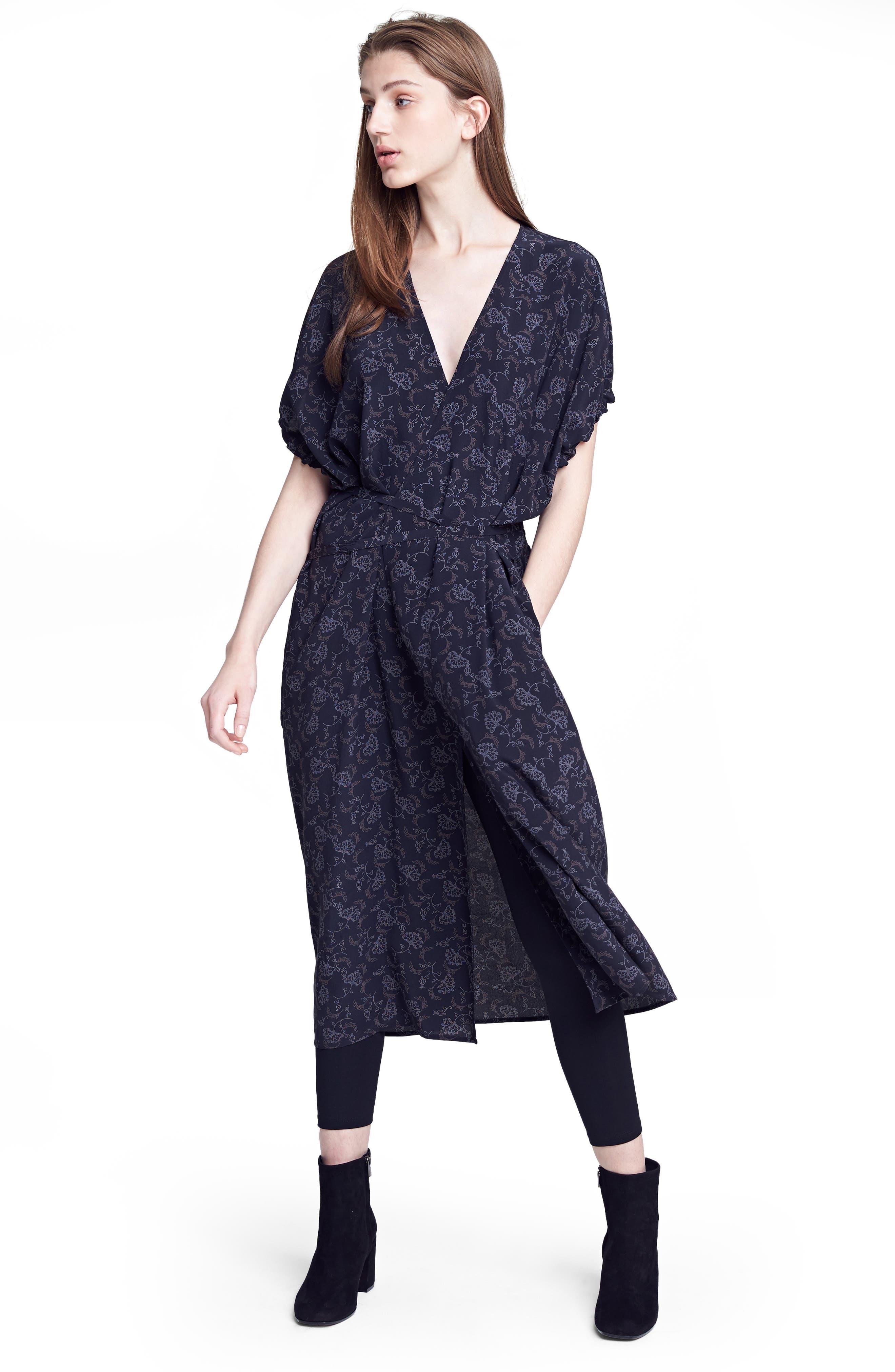 Floral Dot Kimono Silk Wrap Dress,                             Alternate thumbnail 6, color,                             001