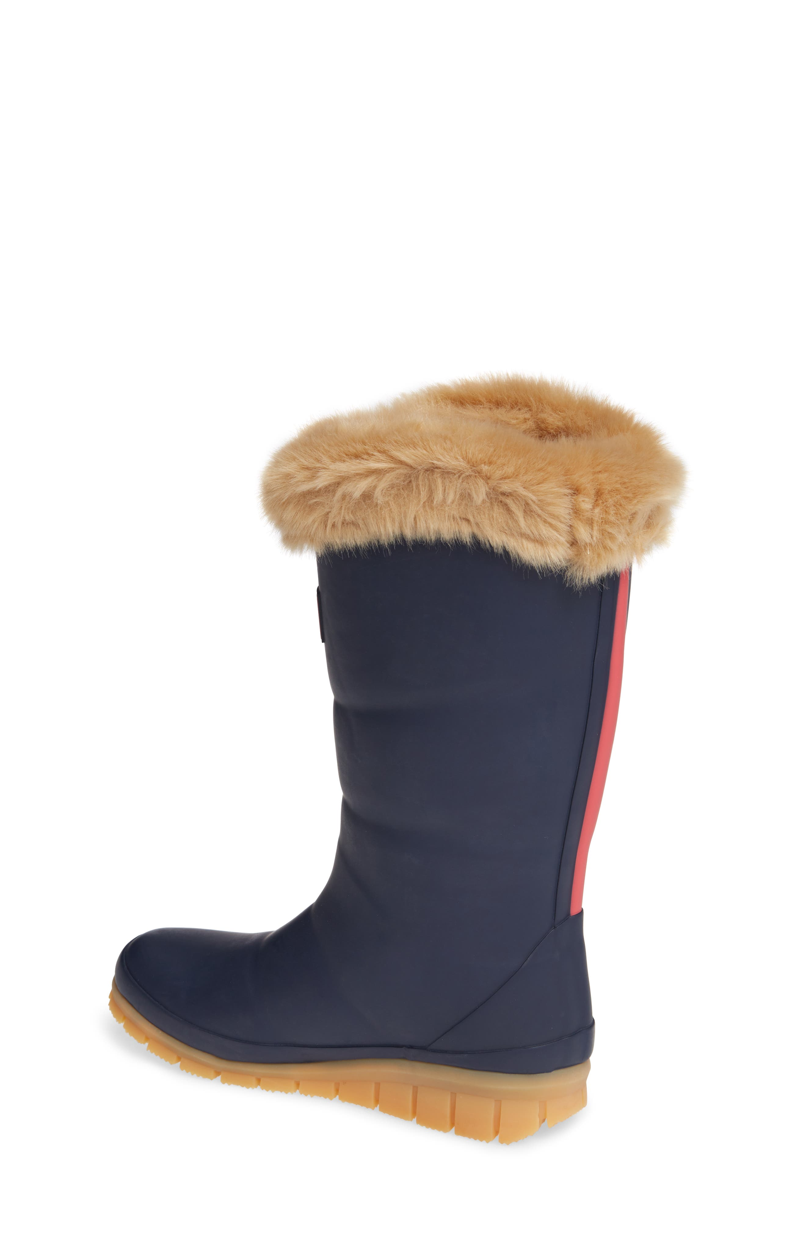 Padded Welly Waterproof Rain Boot with Faux Fur Trim,                             Alternate thumbnail 2, color,                             FRENCH NAVY