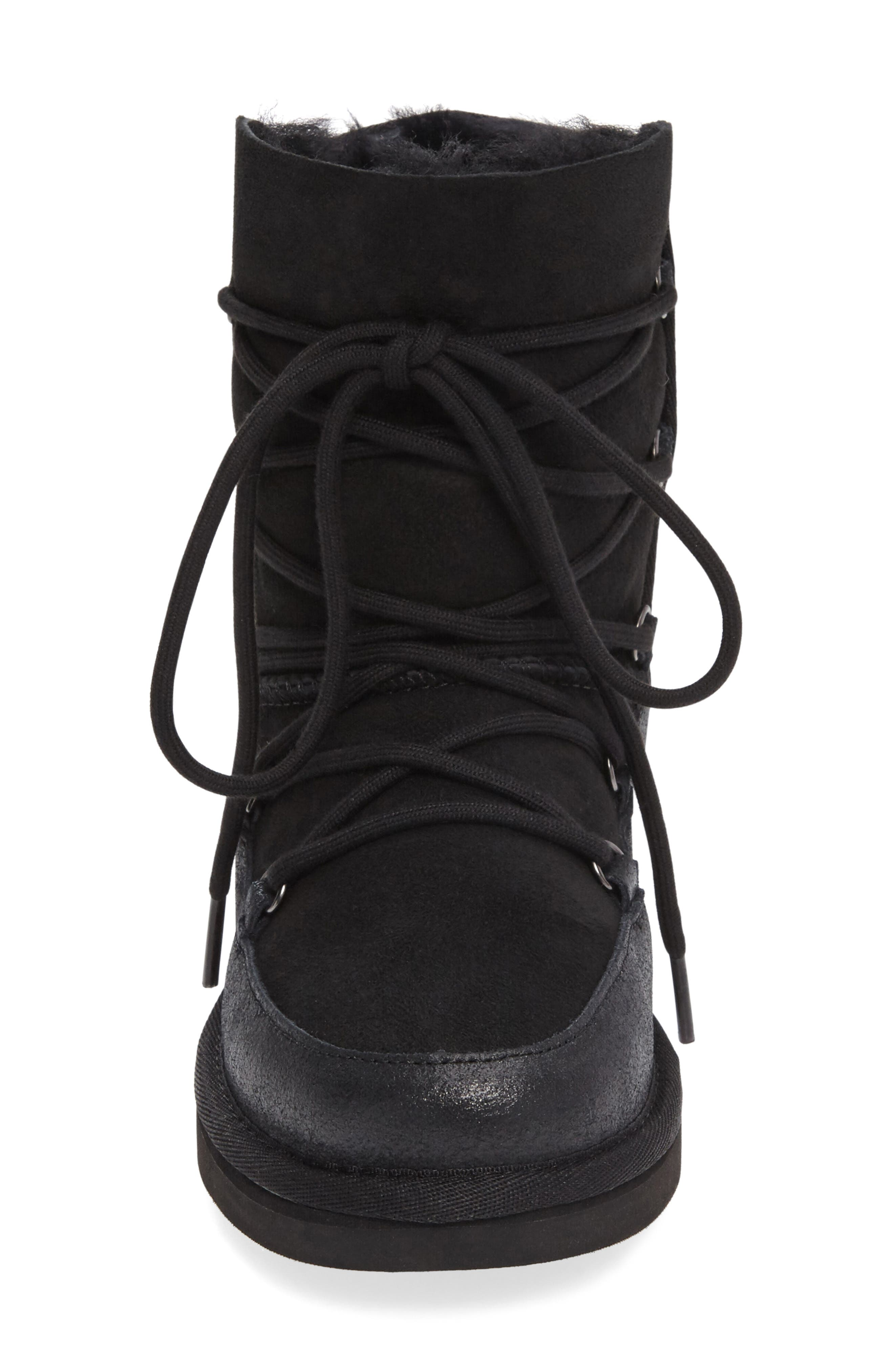 Eliss Water Resistant Suede Boot,                             Alternate thumbnail 3, color,                             001