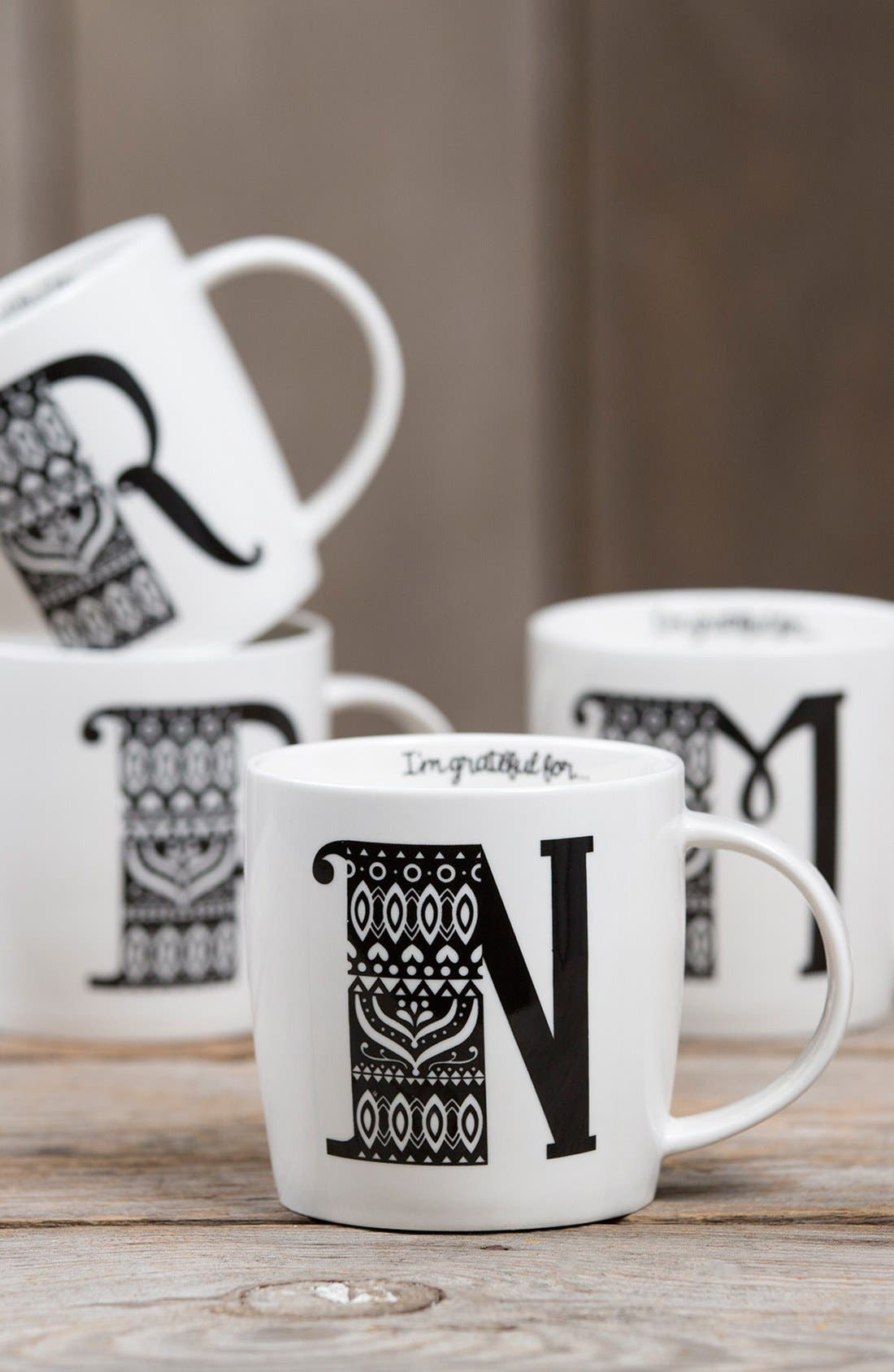 Initial Ceramic Mug,                             Alternate thumbnail 3, color,                             100