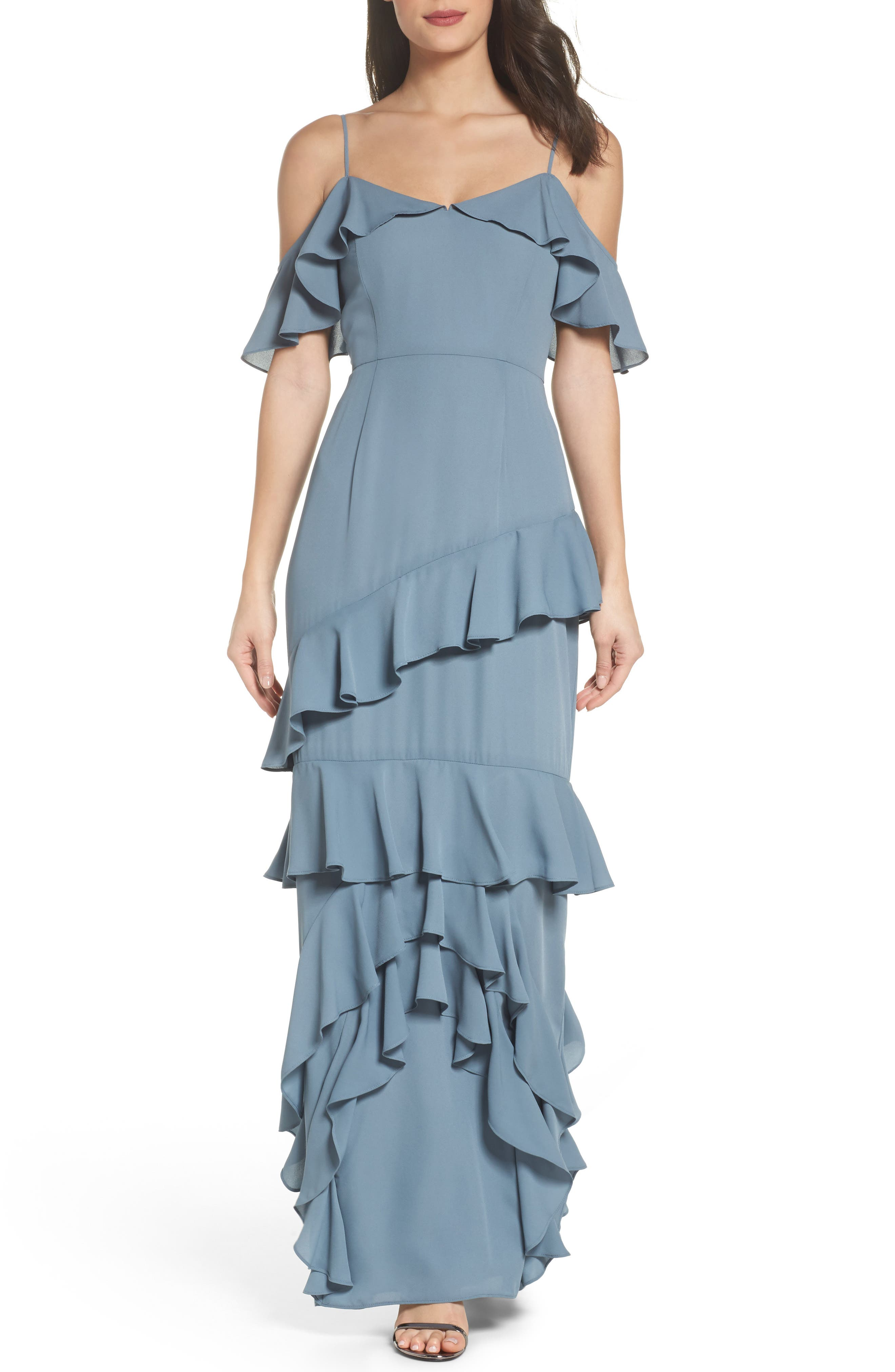 Danielle Off the Shoulder Tiered Crepe Dress,                             Main thumbnail 1, color,                             020