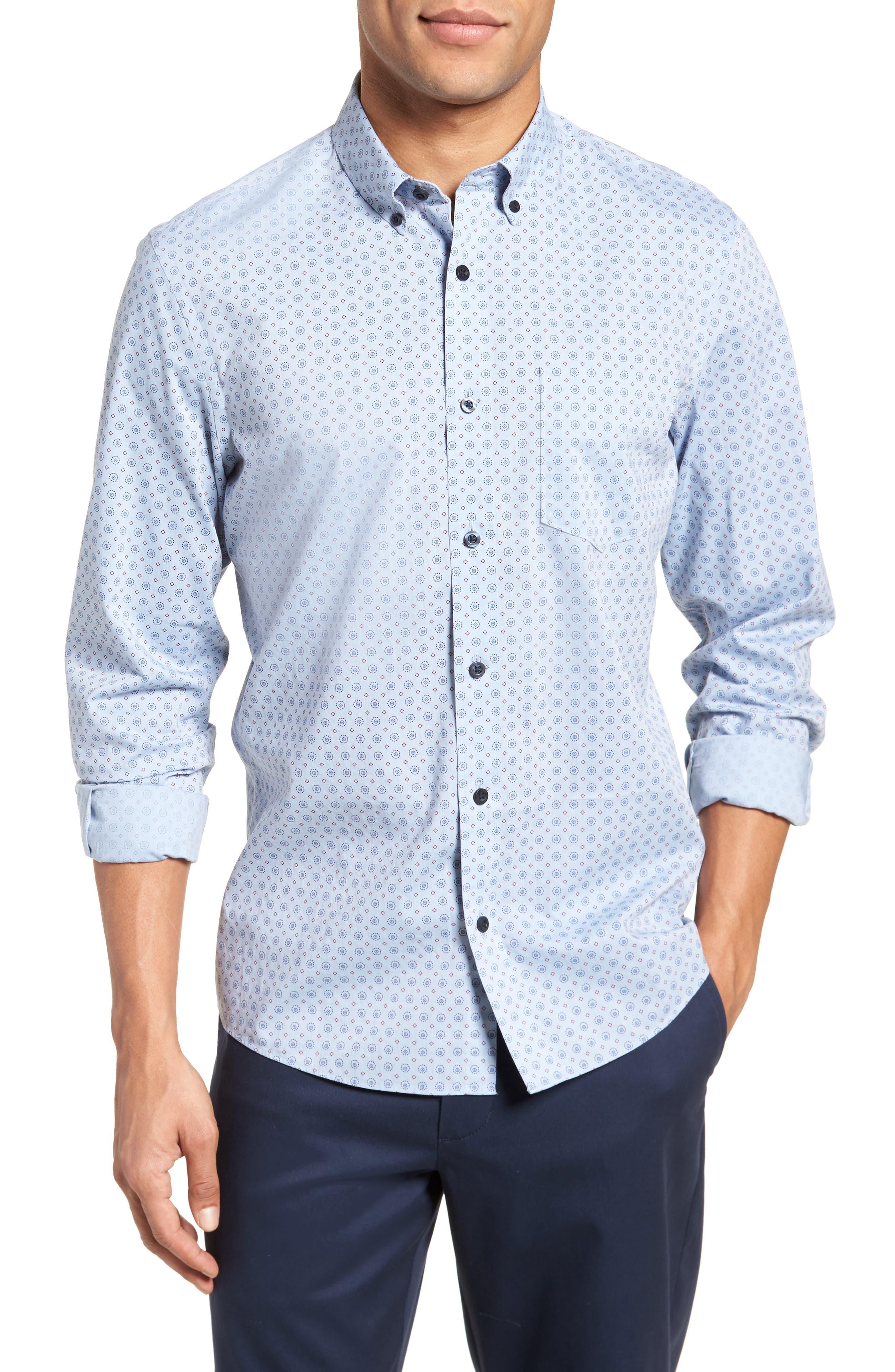 Trim Fit Print Sport Shirt,                         Main,                         color, 420