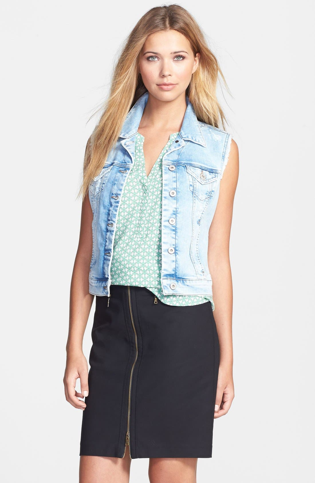 MAVI JEANS 'Jodi' Fitted Denim Vest, Main, color, 404