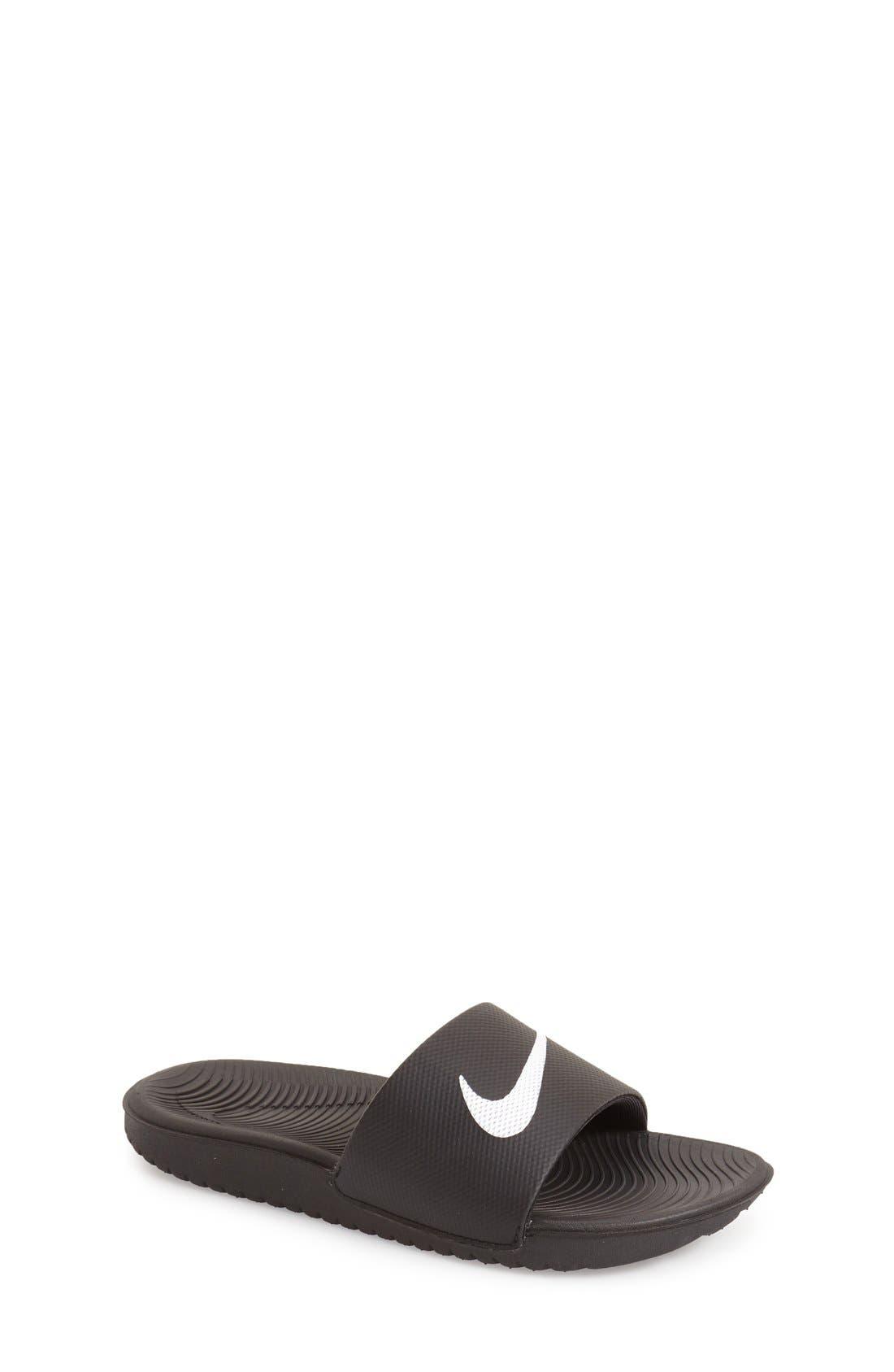 'Kawa' Slide Sandal,                             Main thumbnail 1, color,                             BLACK/ WHITE