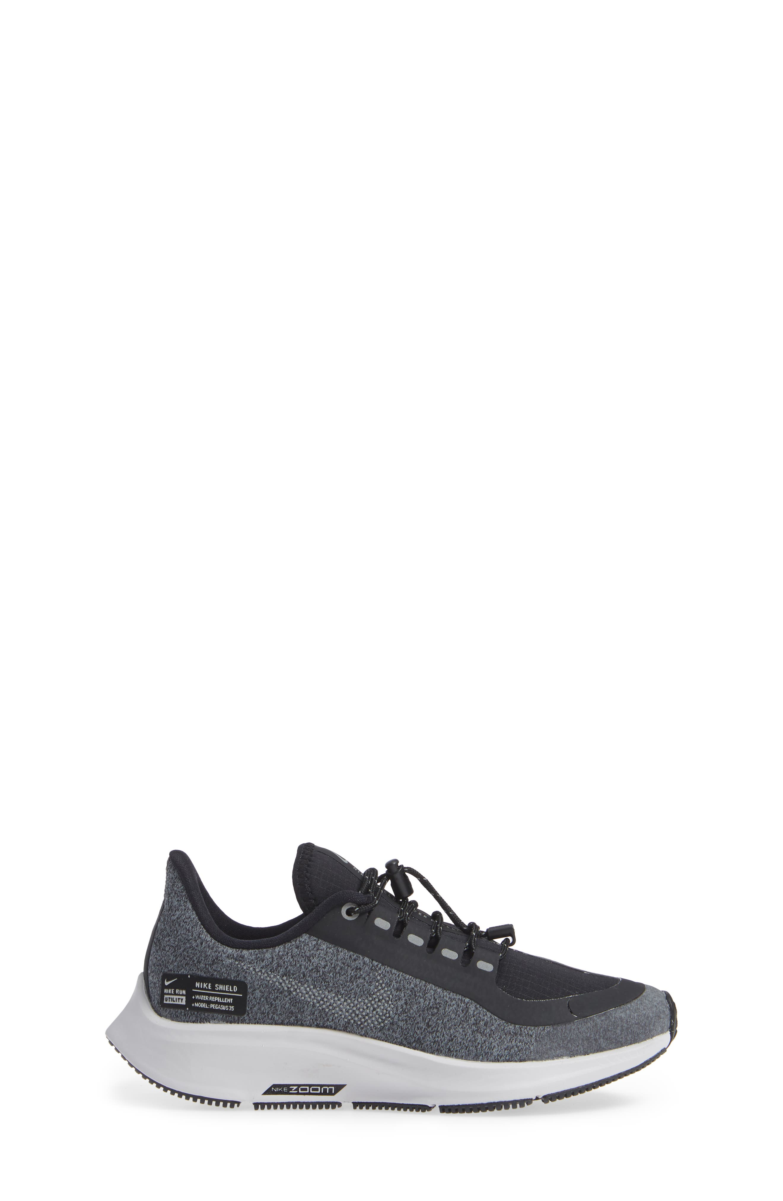 Air Zoom Pegasus 35 Shield GS Water Repellent Running Shoe,                             Alternate thumbnail 3, color,                             BLACK