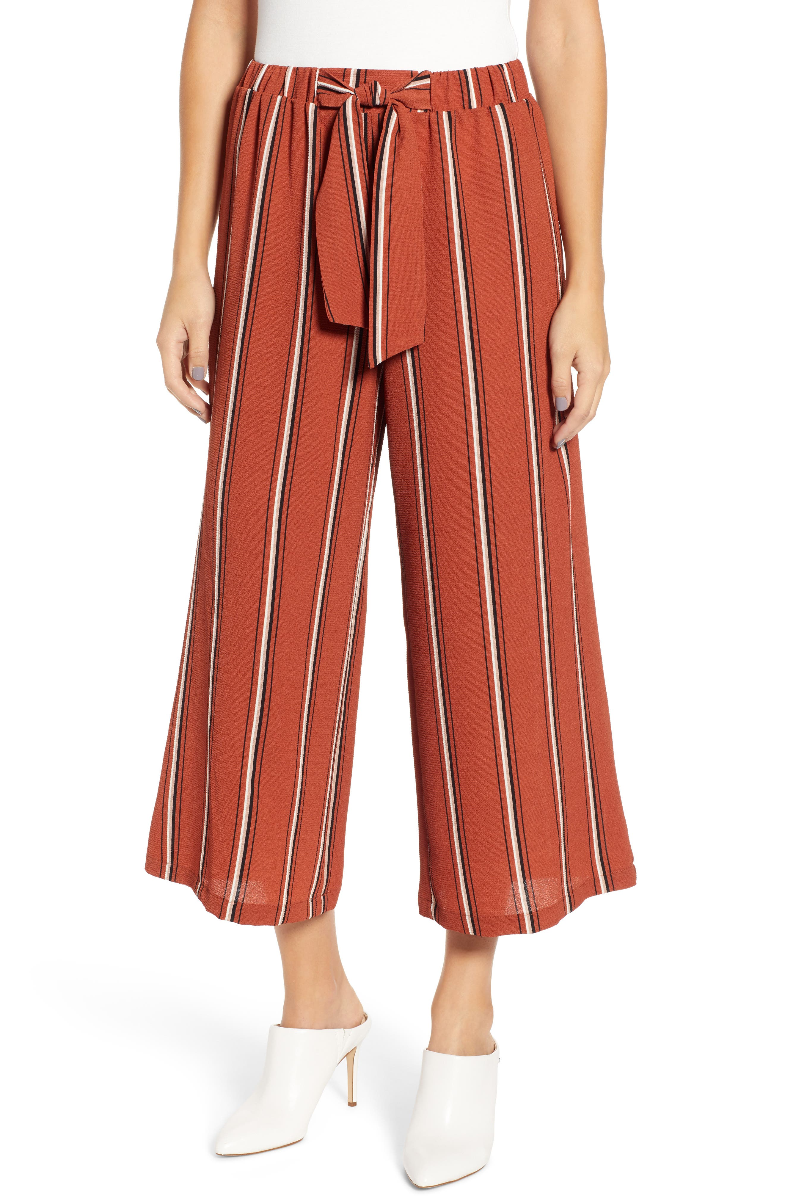 Tie Waist Stripe Wide Leg Crop Pants,                         Main,                         color, RUST
