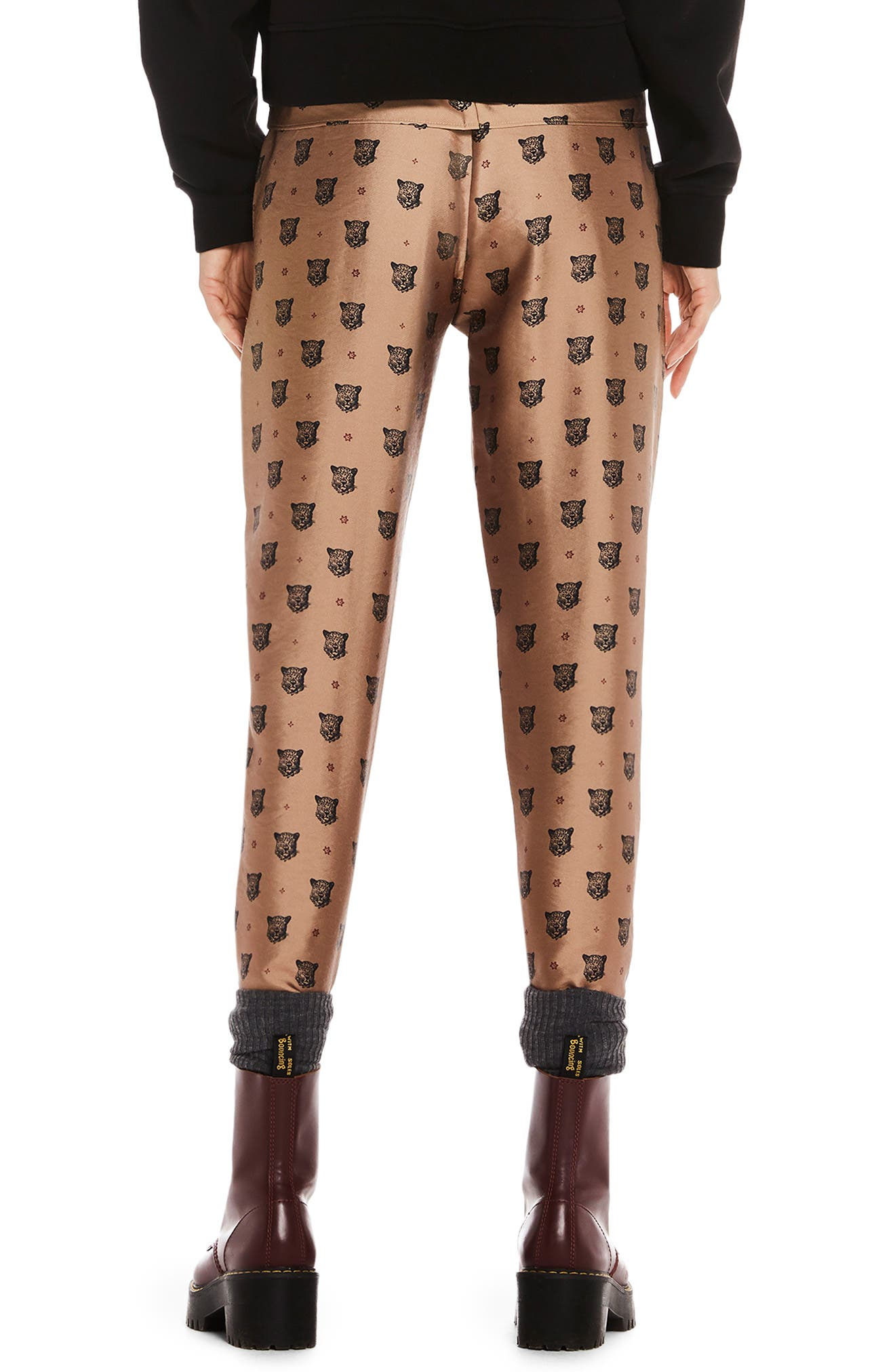 Tailored Leopard Pants,                             Alternate thumbnail 2, color,                             GOLD W/ LEOPARD PRINT