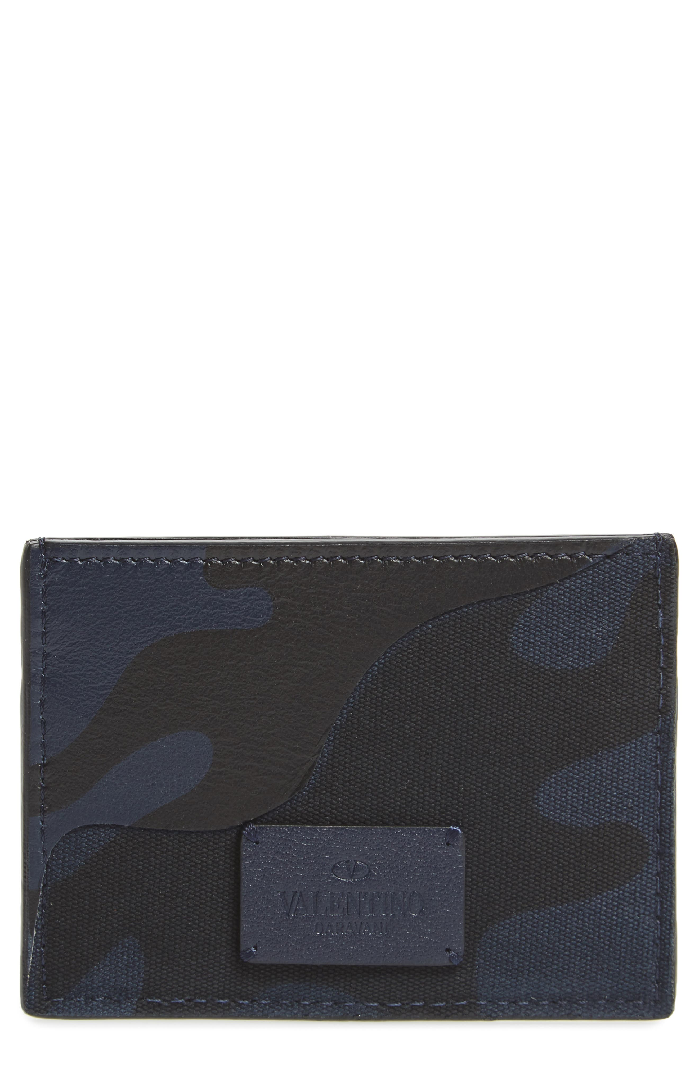GARAVANI Camo Nylon & Leather Card Case,                             Main thumbnail 1, color,                             MARINE
