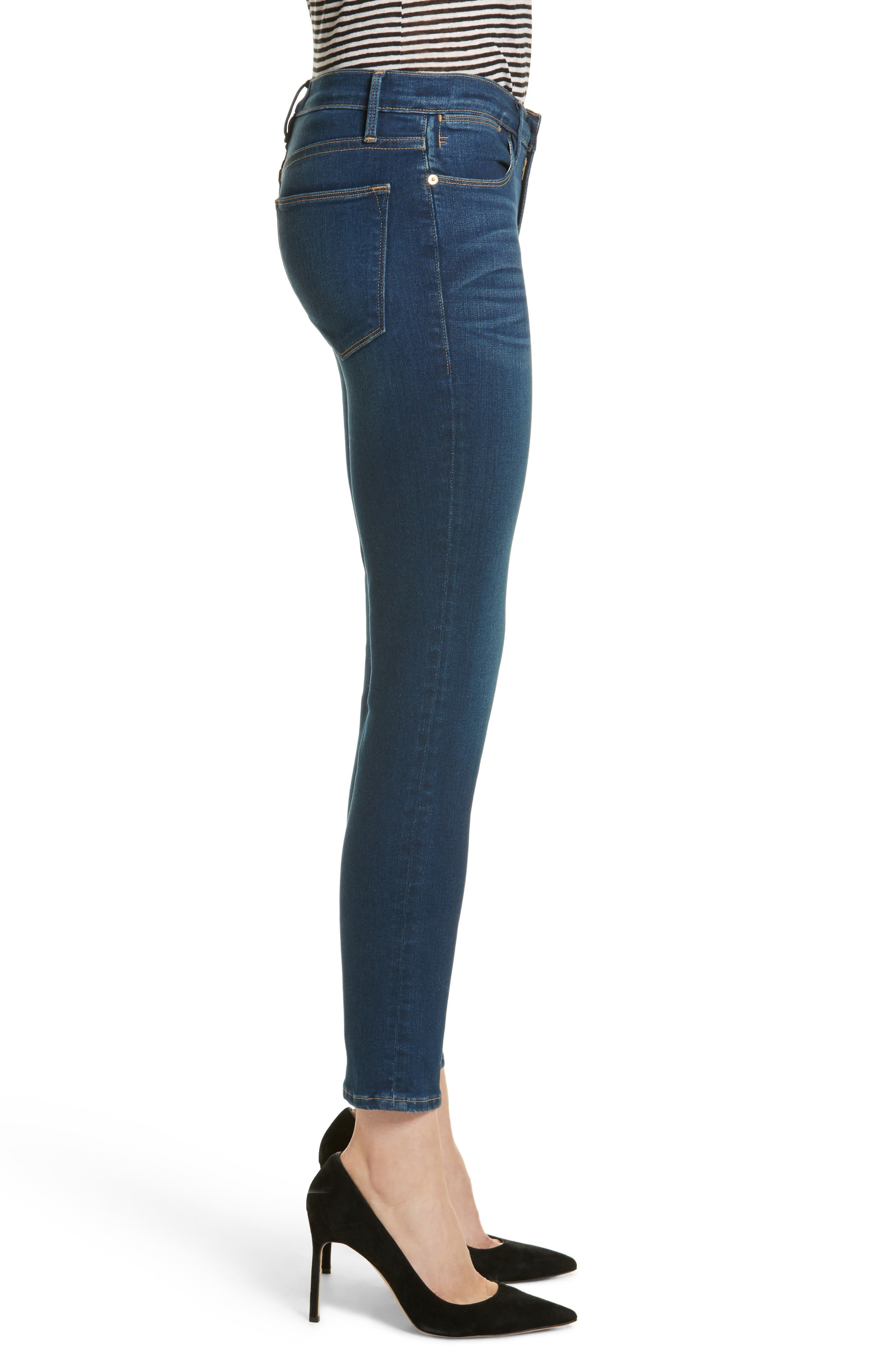 Le High Skinny Ankle Jeans,                             Alternate thumbnail 3, color,