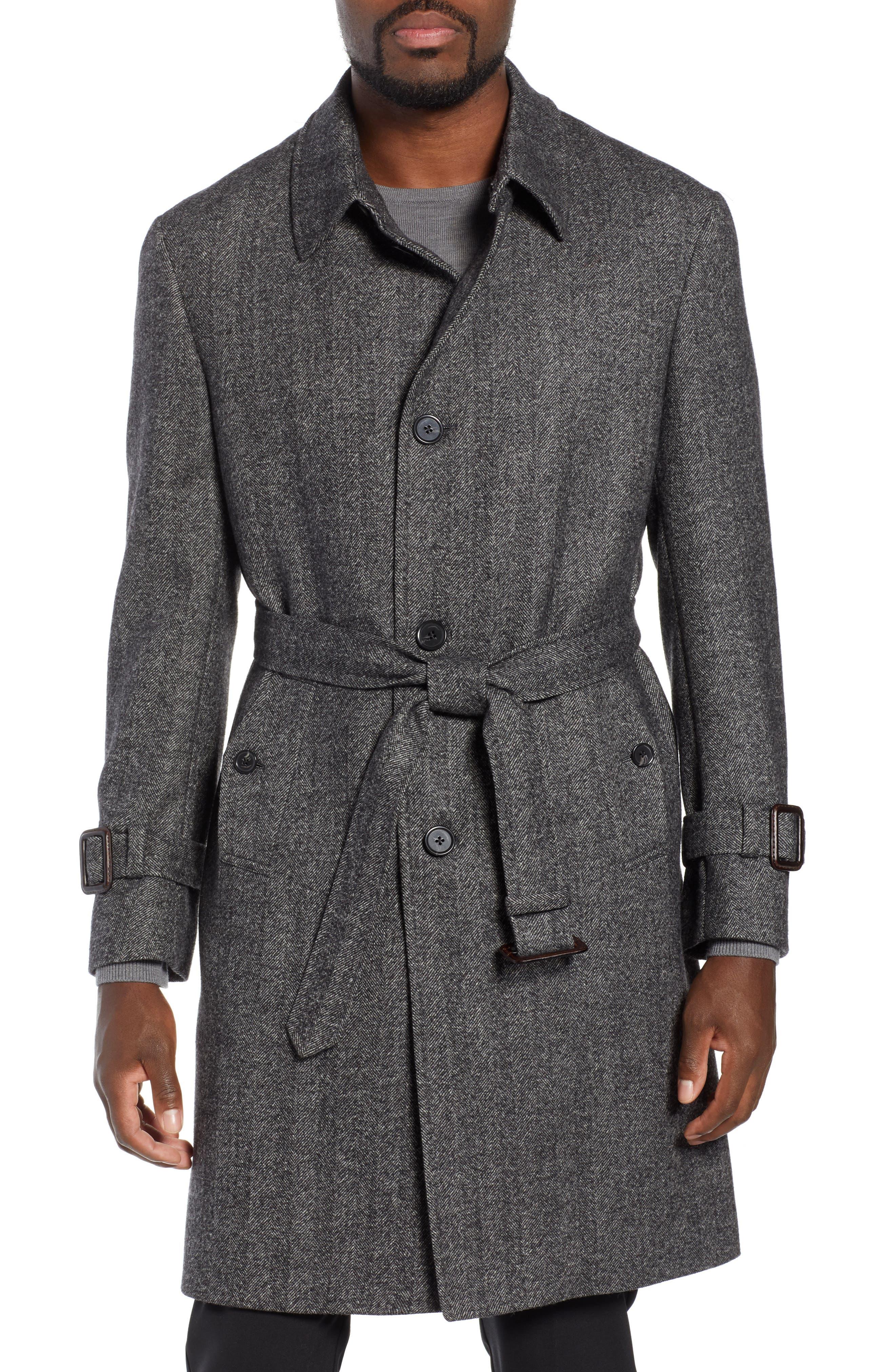 Zelander Herringbone Wool Blend Coat,                             Alternate thumbnail 4, color,                             GREY