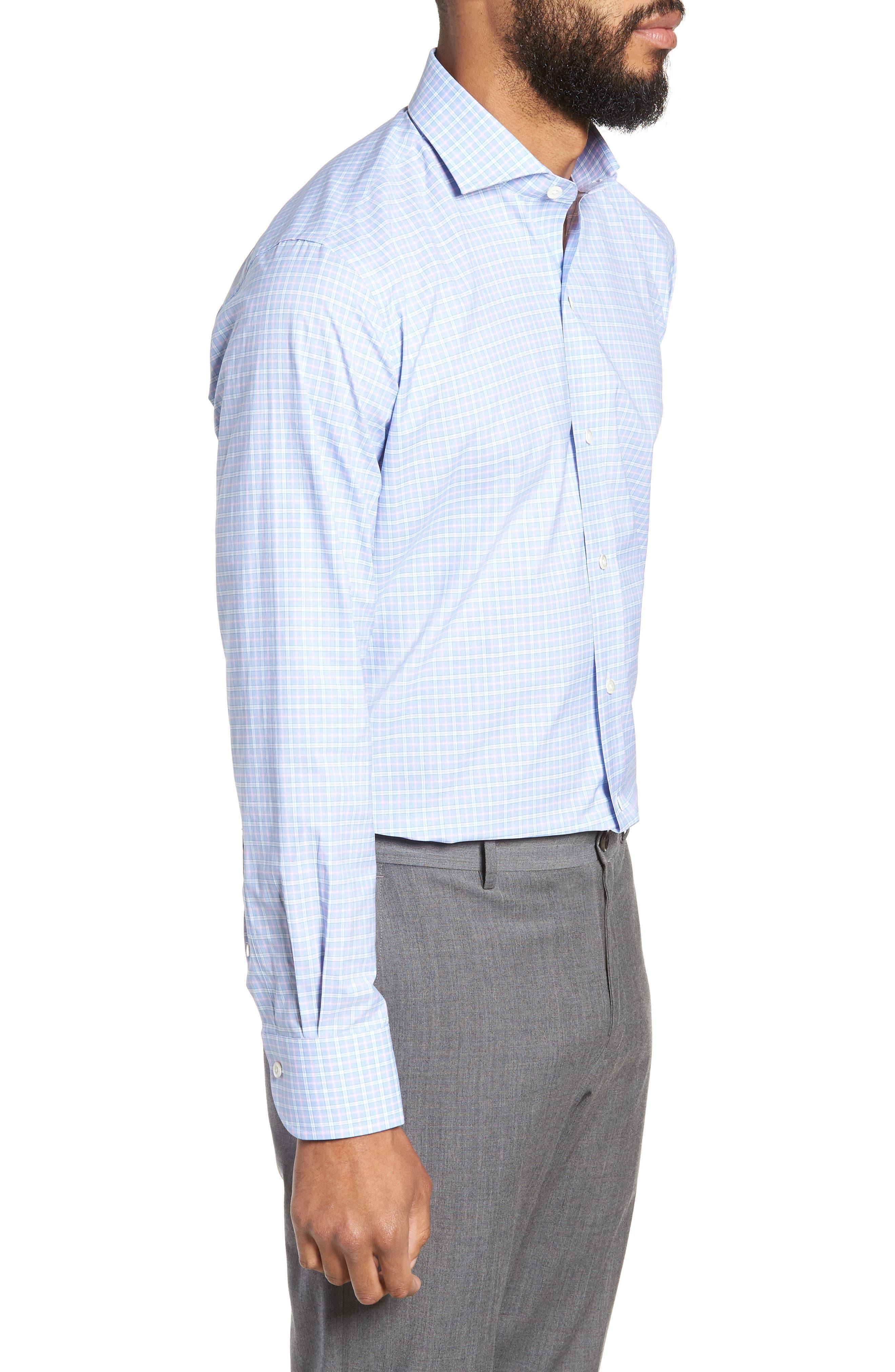 Ferris Slim Fit Check Dress Shirt,                             Alternate thumbnail 4, color,                             LIGHT/ PASTEL BLUE