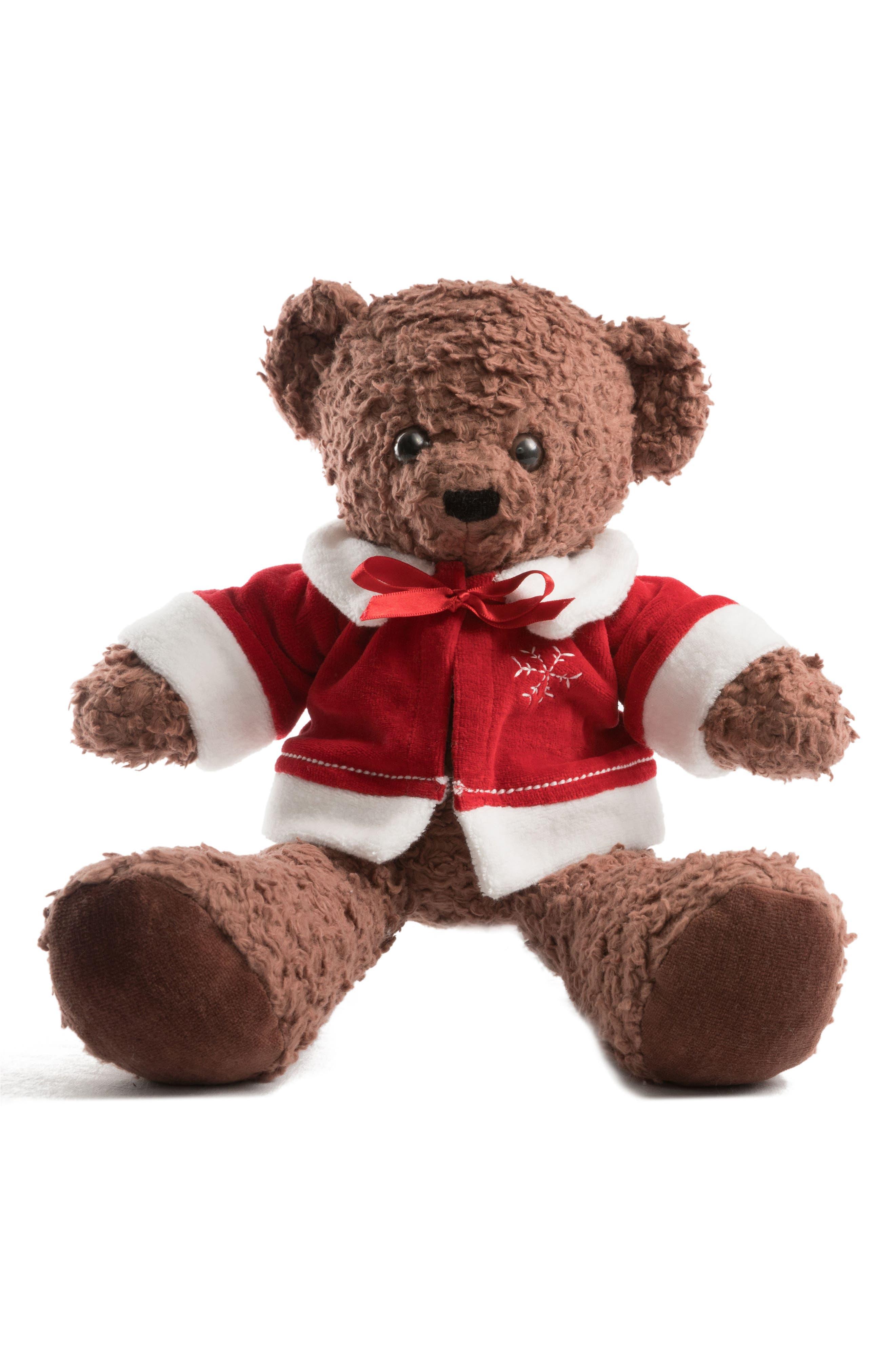 Medium Stuffed Bear with Holiday Jacket,                             Main thumbnail 2, color,