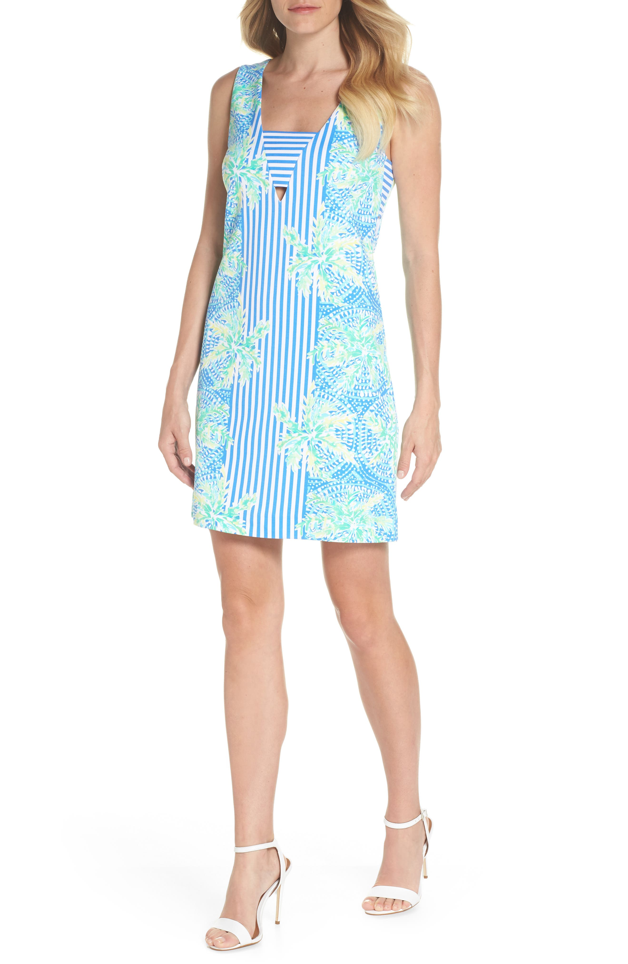 Chiara Stripe & Floral Print Dress,                             Alternate thumbnail 5, color,                             BENNET BLUE TROPIC LIKE ITS