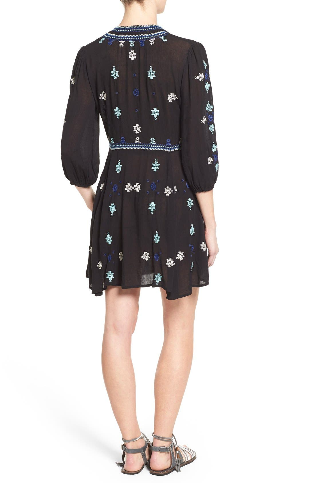 'Star Gazer' Embroidered Tunic Dress,                             Alternate thumbnail 4, color,                             001