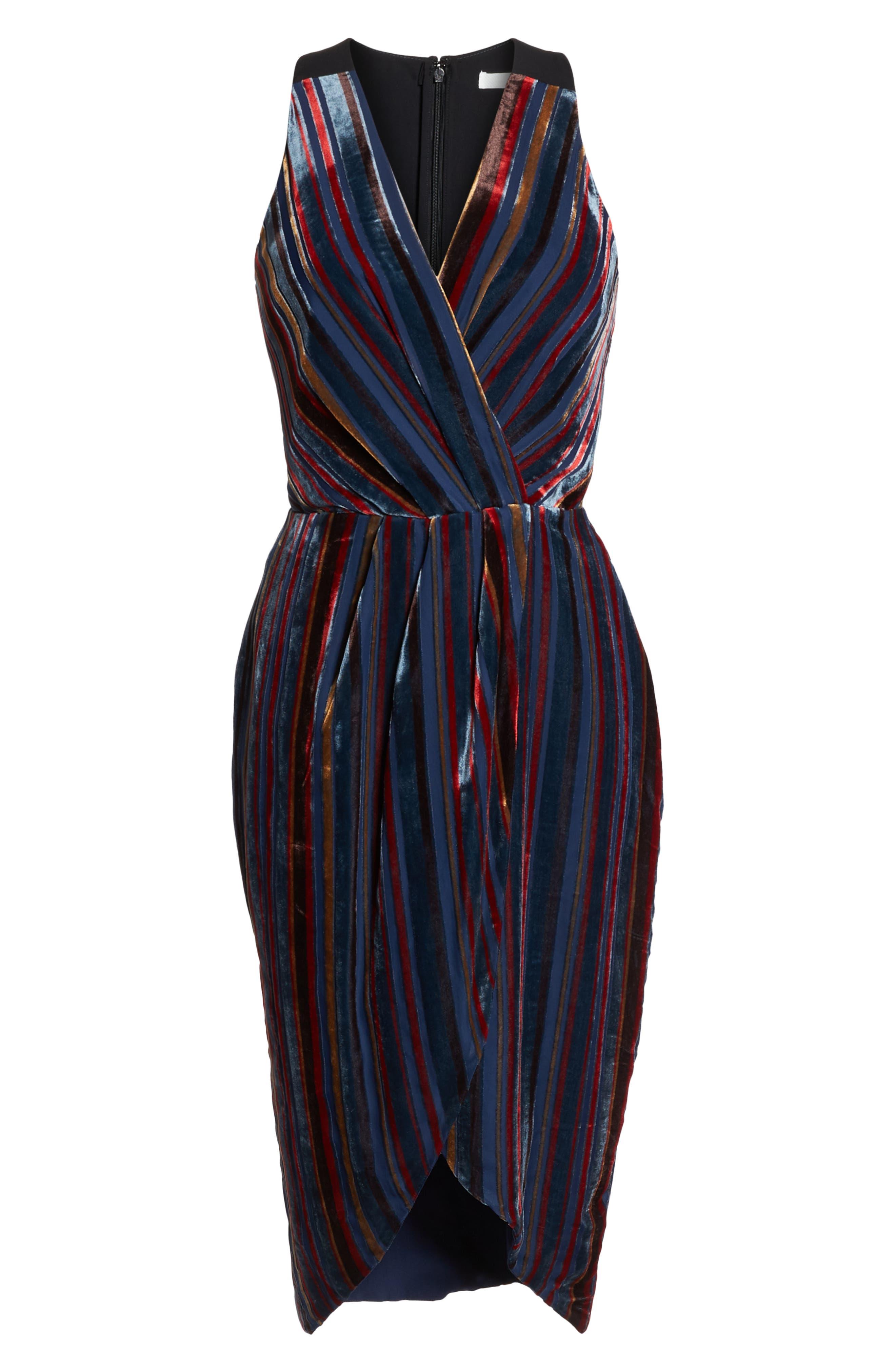 Stripe Velvet Cocktail Sheath,                             Alternate thumbnail 7, color,                             NAVY MULTI
