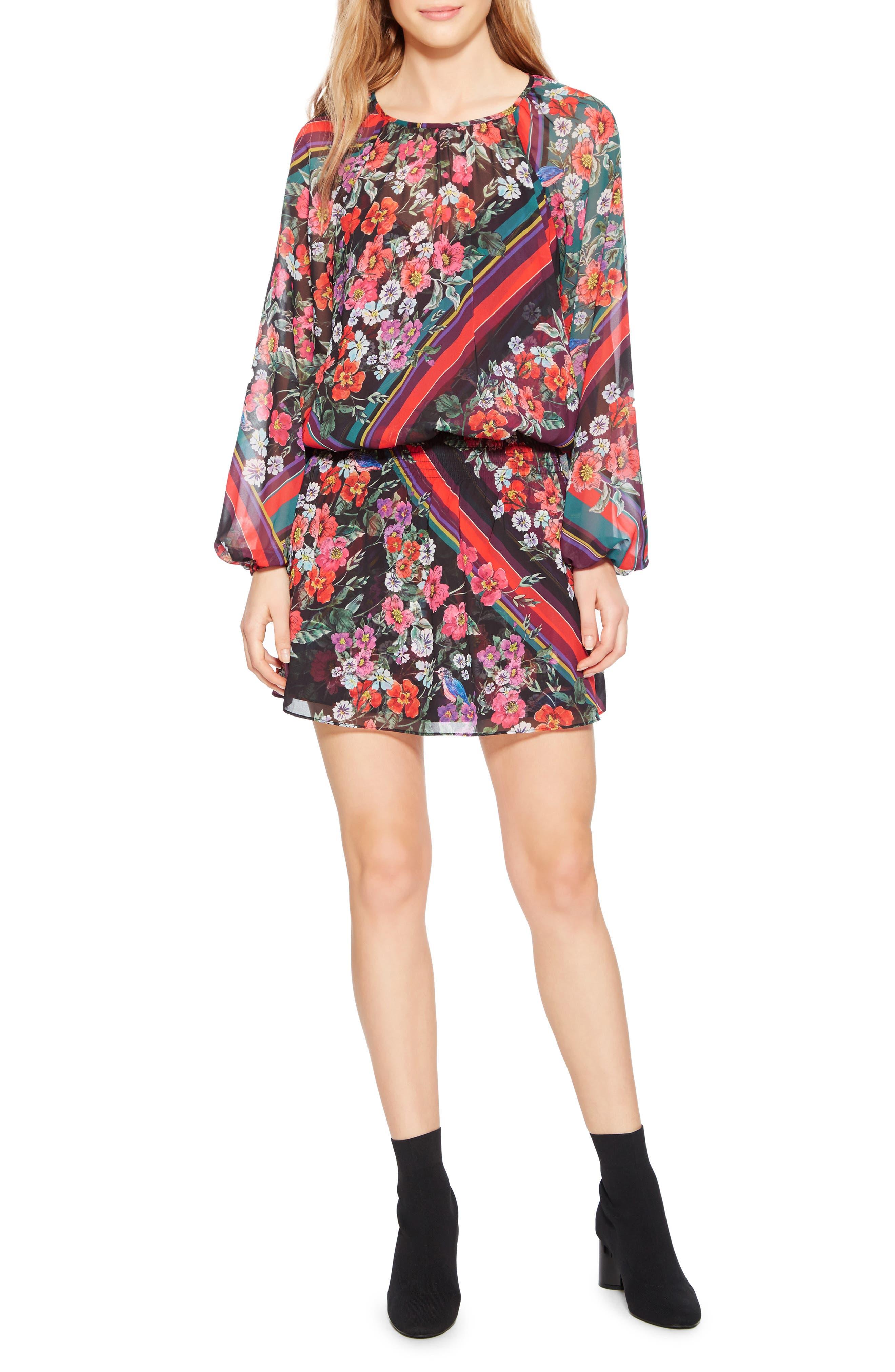 PARKER Christina Floral-Print Blouson Long-Sleeve Dress in Madison Stripe