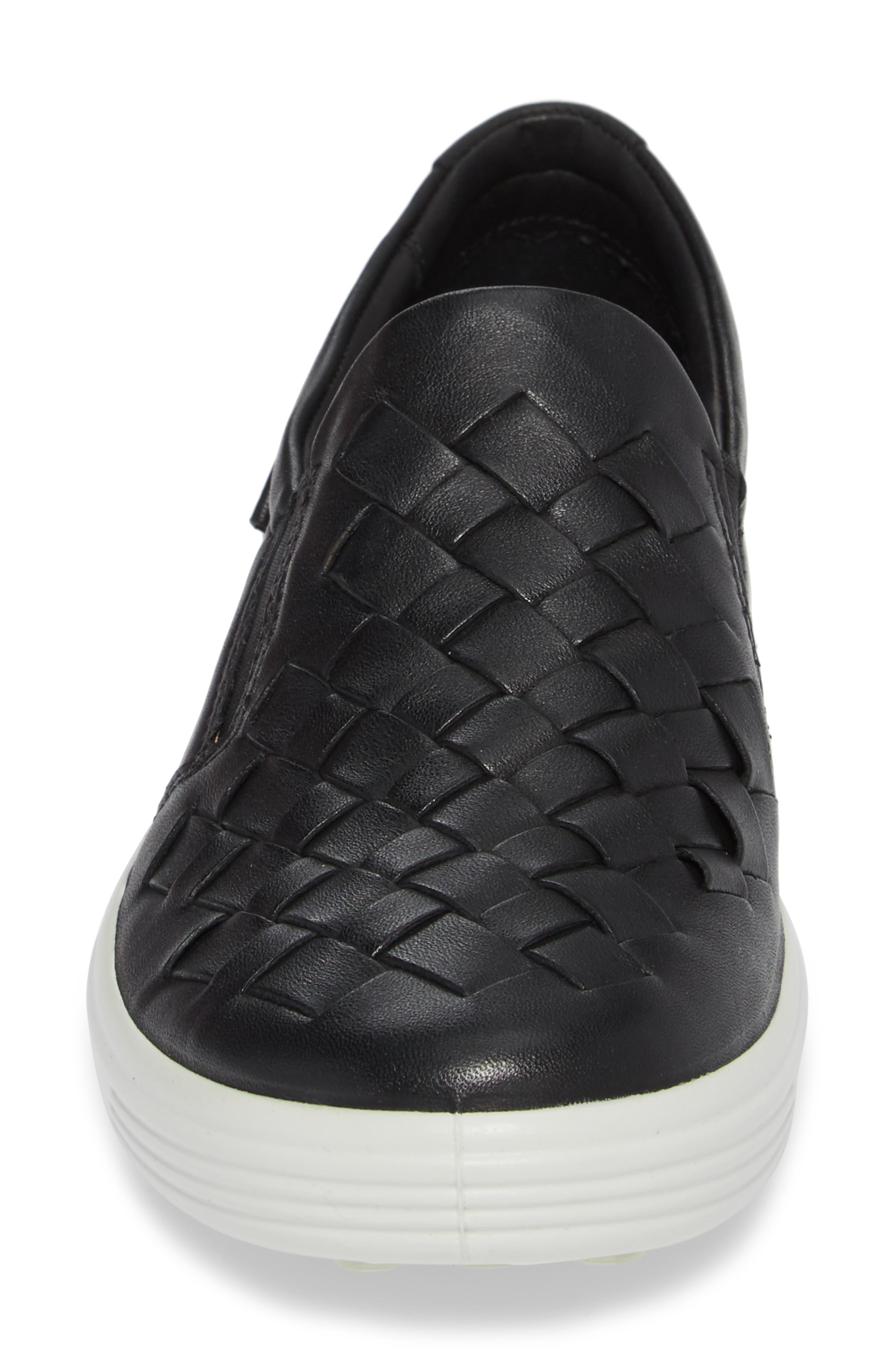 ECO Soft 7 Woven Slip-On Sneaker,                             Alternate thumbnail 4, color,                             BLACK LEATHER