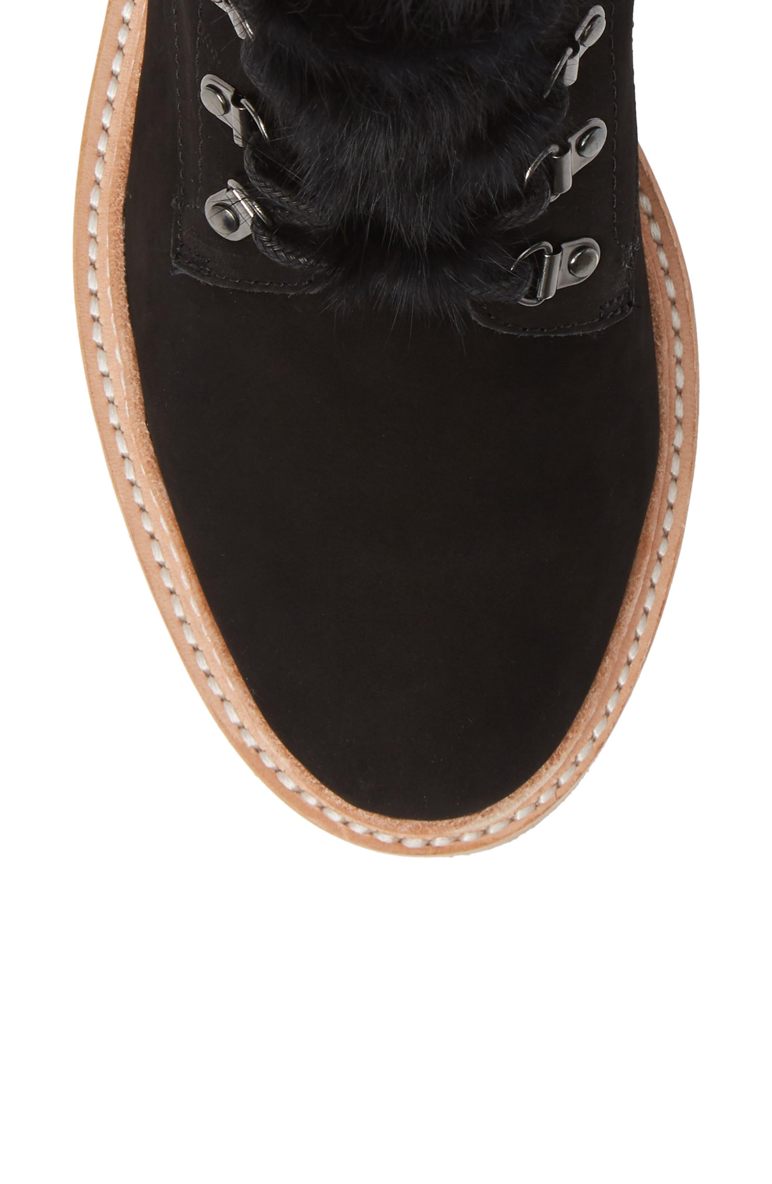 BOTKIER,                             Winter Genuine Rabbit Fur Trim Boot,                             Alternate thumbnail 5, color,                             BLACK SUEDE