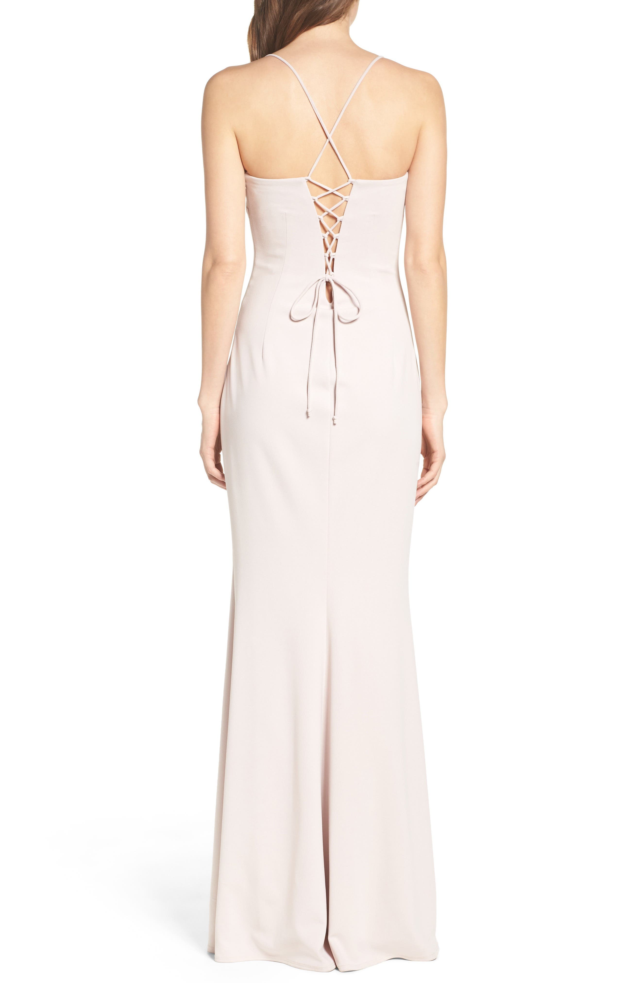Jean Stretch Crepe Gown,                             Alternate thumbnail 4, color,