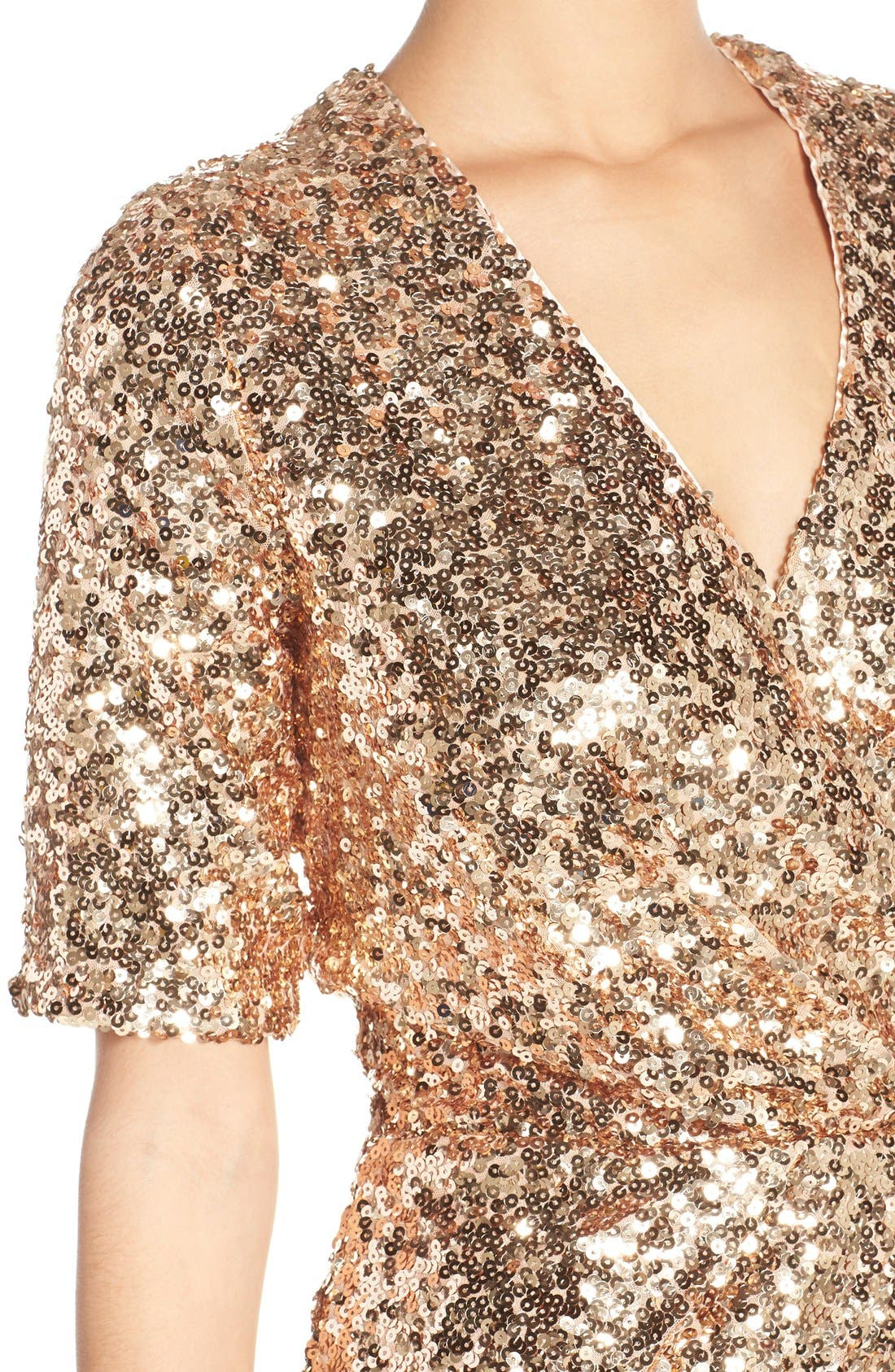 Sequin Mesh Faux Wrap Dress,                             Alternate thumbnail 8, color,