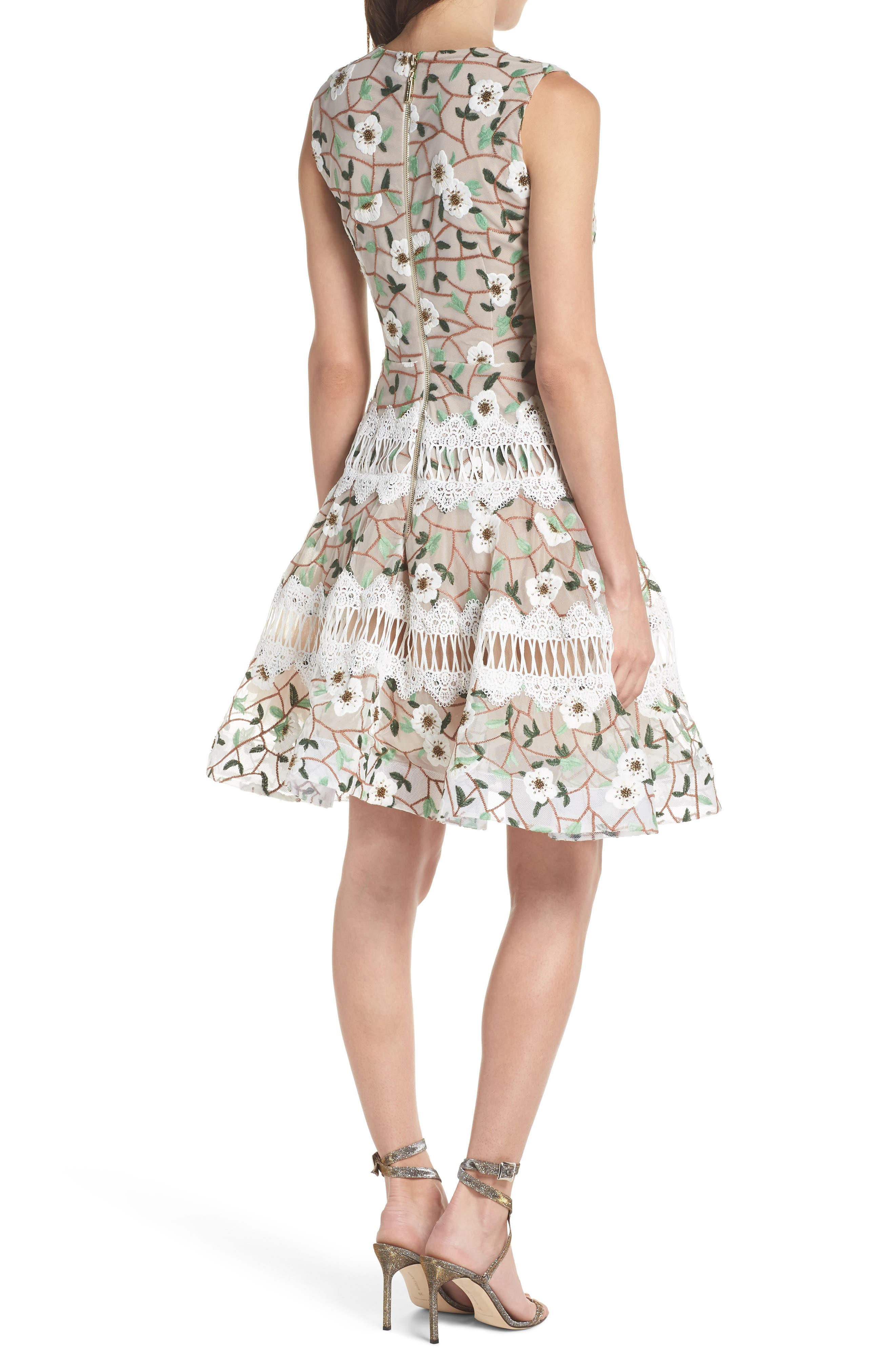 Boni Embroidered Plunging Fit & Flare Dress,                             Alternate thumbnail 2, color,                             MULTICOLOR