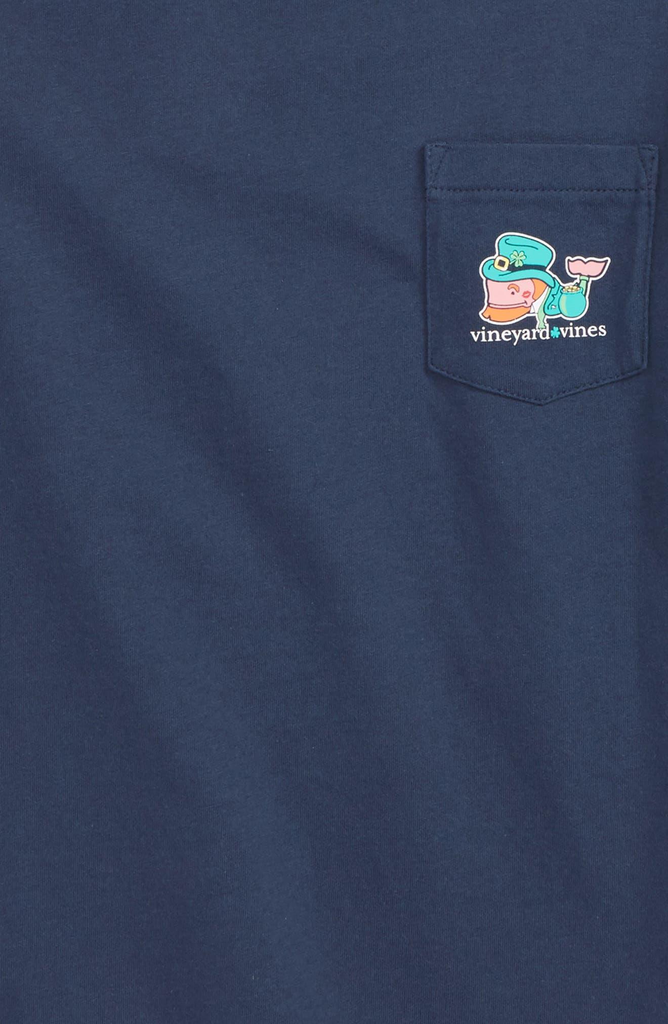 Kiss Me I'm Irish Pocket T-Shirt,                             Alternate thumbnail 3, color,                             BLUE BLAZER