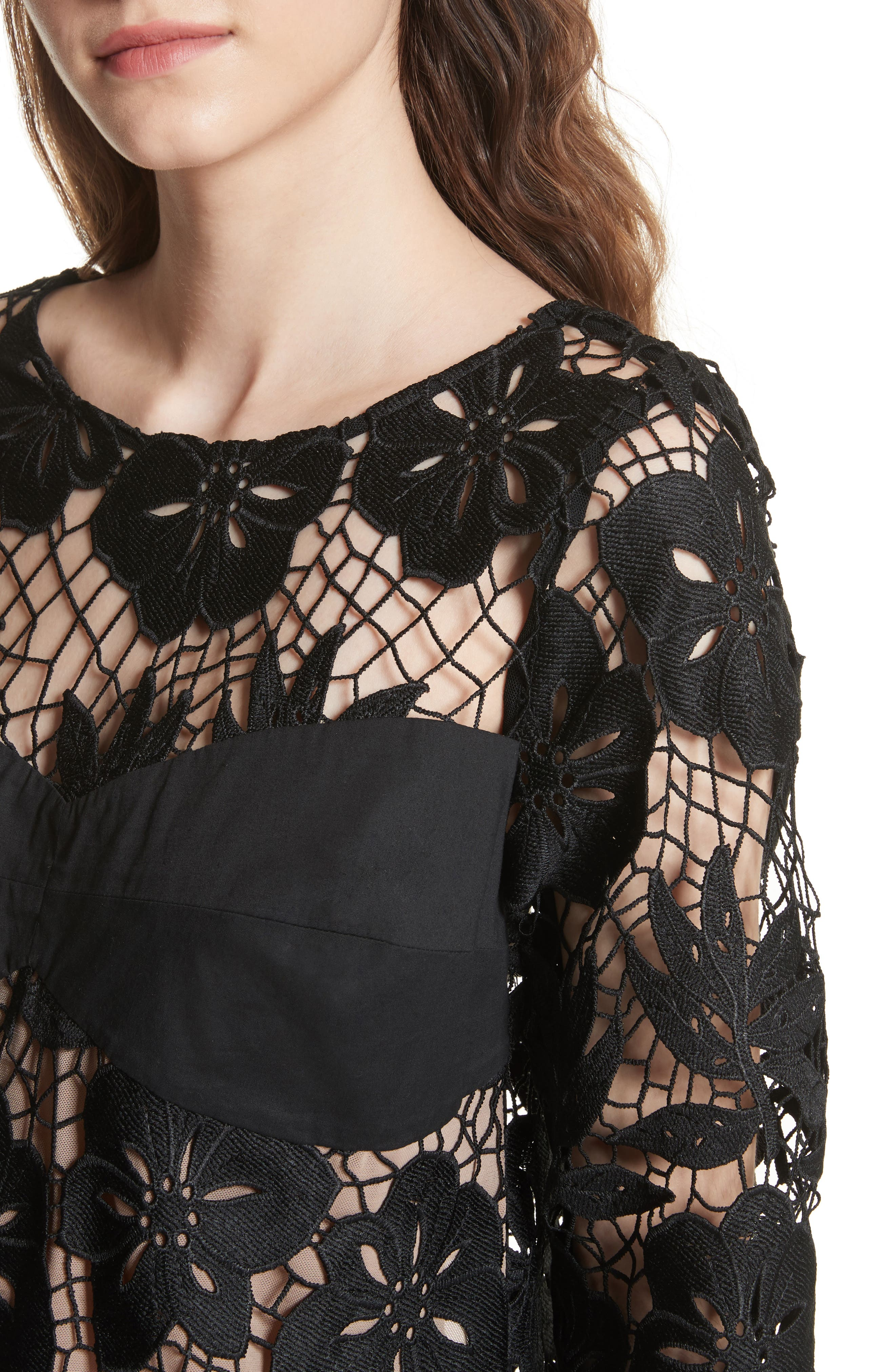 Mixed Media Lace Top,                             Alternate thumbnail 4, color,