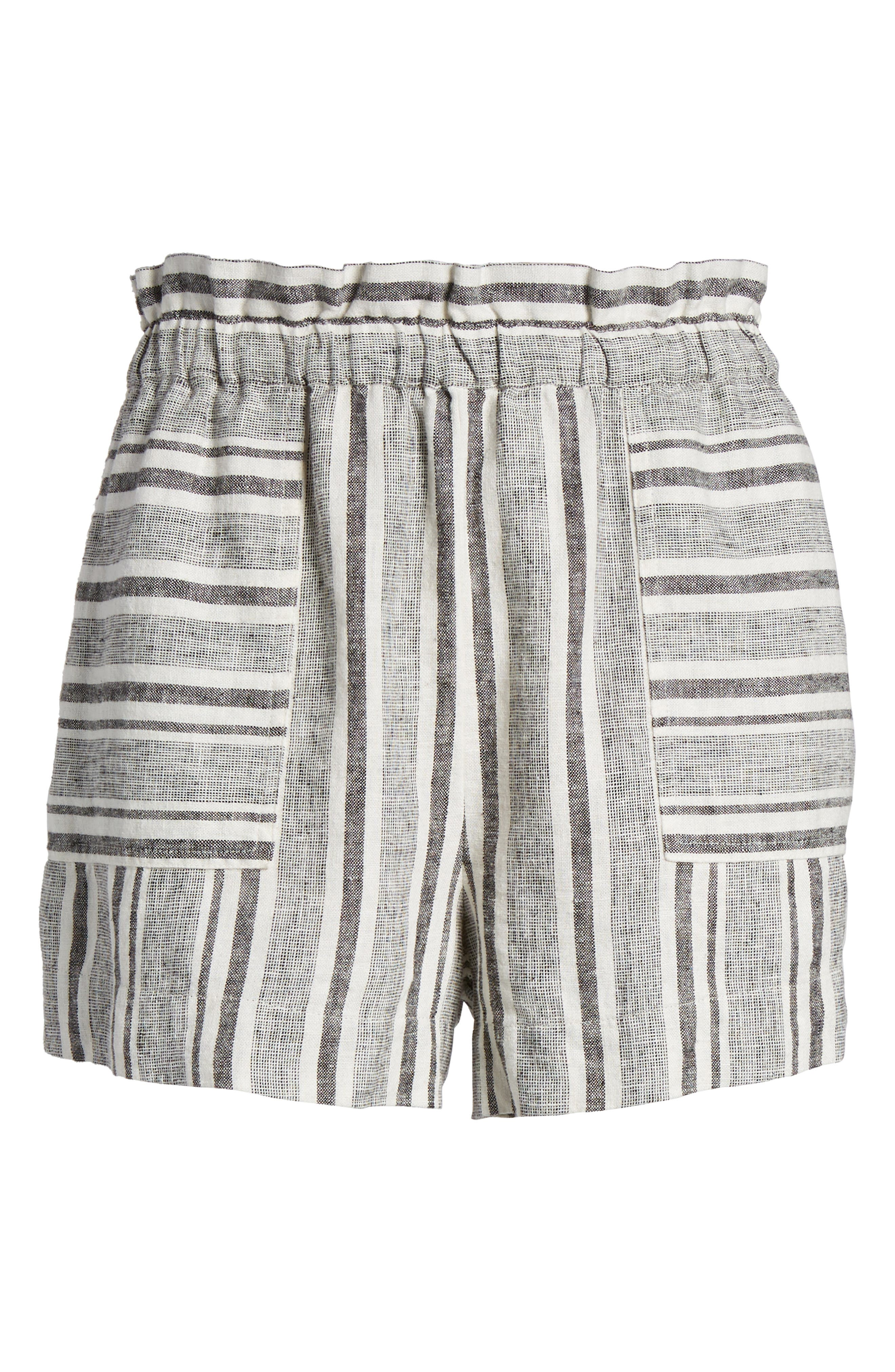 Stripe Linen Blend Shorts,                             Alternate thumbnail 6, color,                             BLACK VIOLA STRIPE