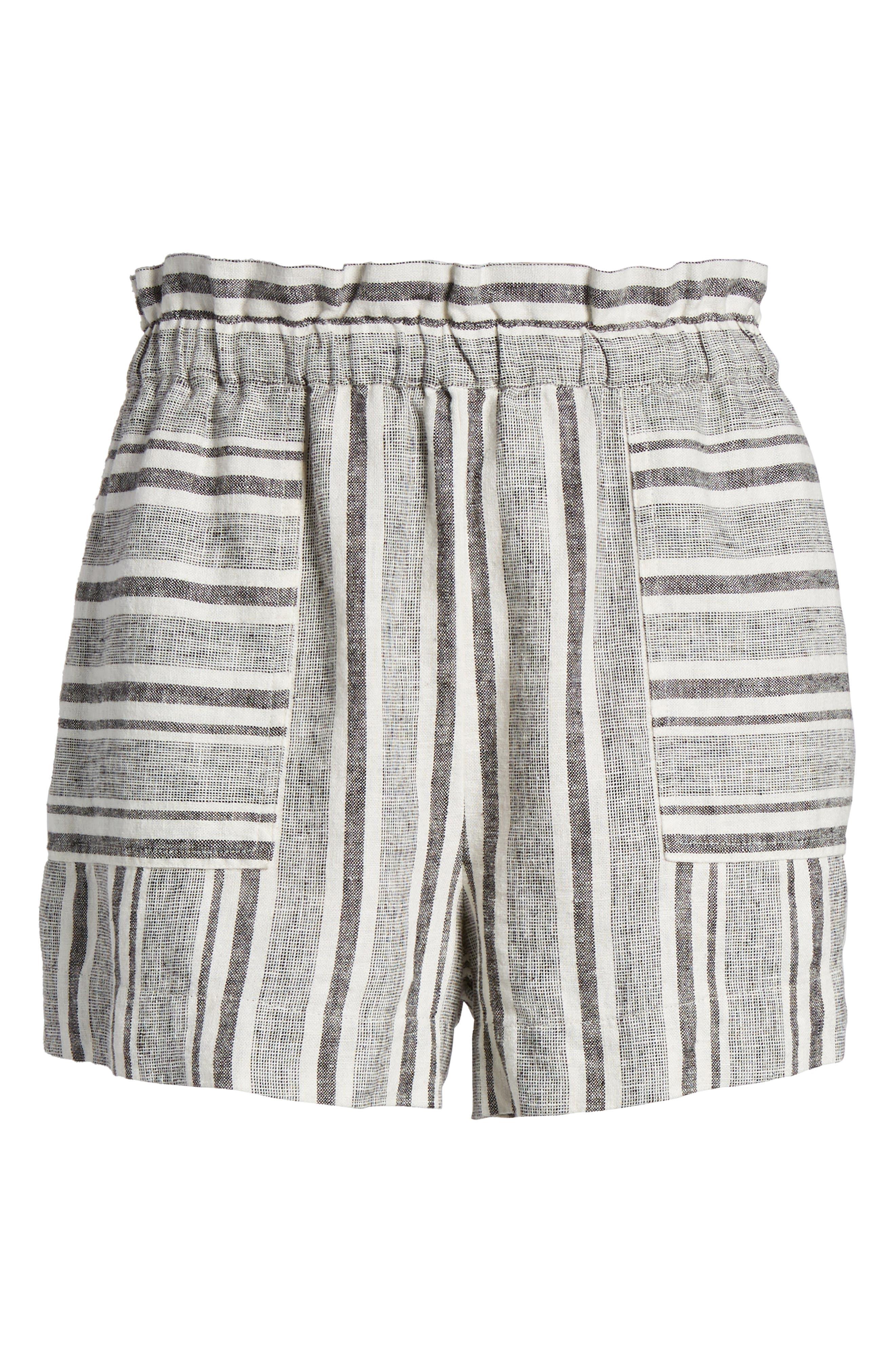 Stripe Linen Blend Shorts,                             Alternate thumbnail 6, color,                             001
