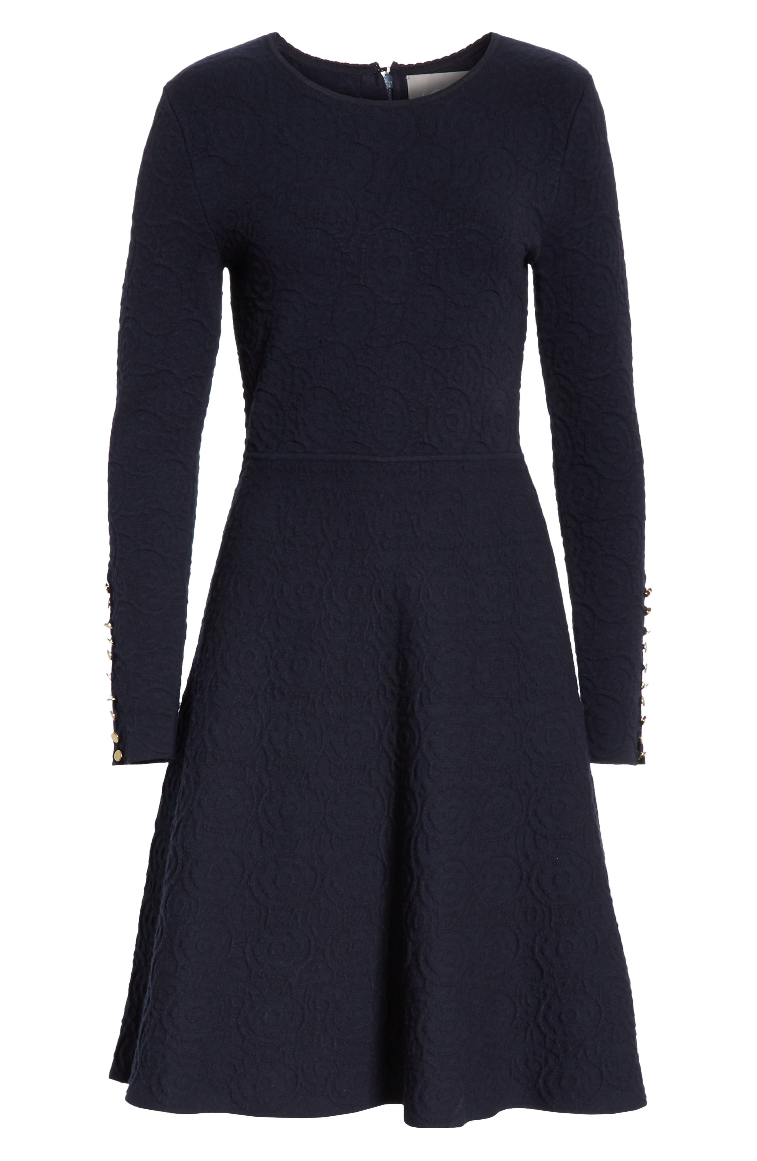 Textured Jacquard Knit Fit & Flare Dress,                             Alternate thumbnail 7, color,                             NAVY