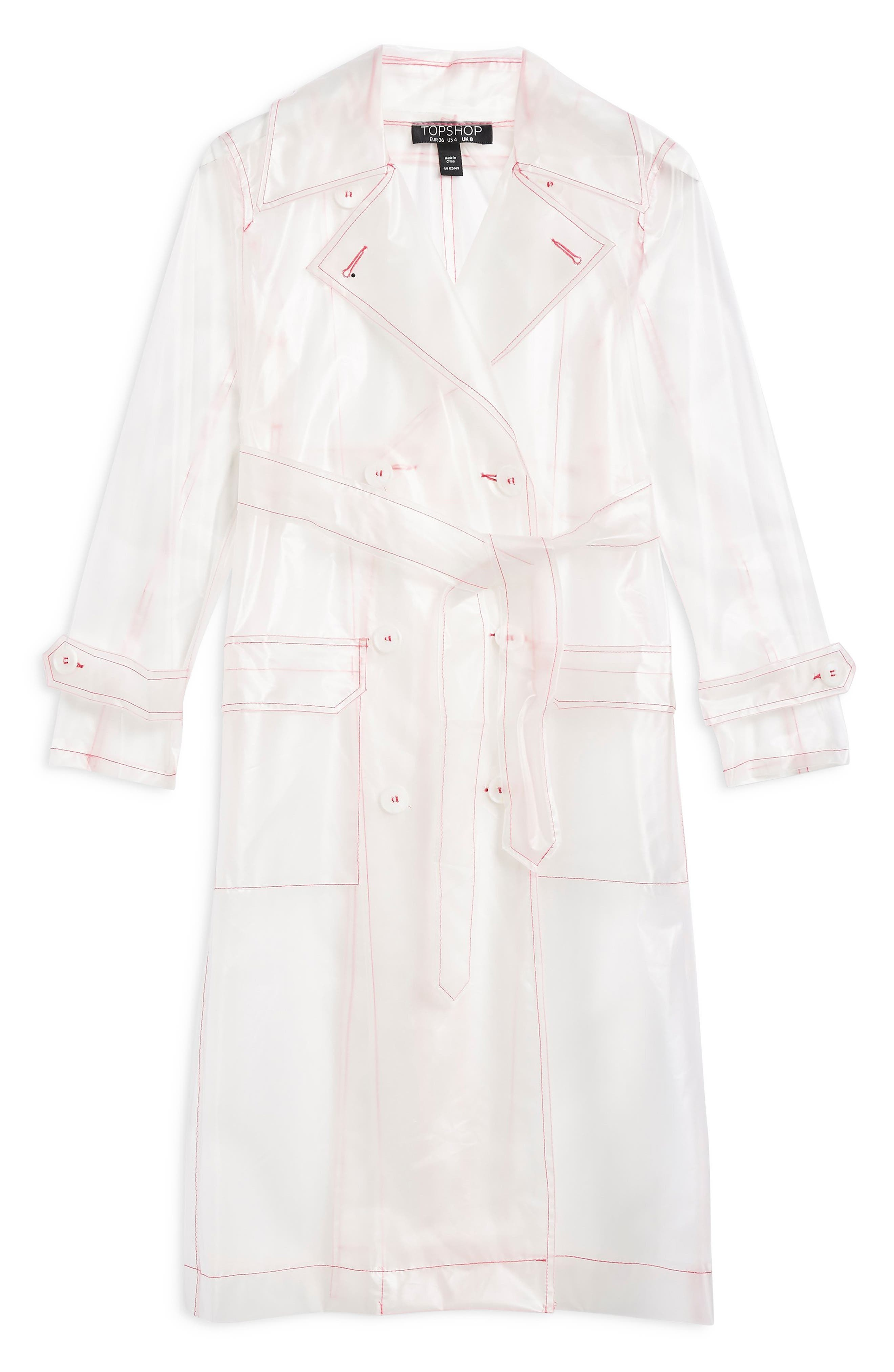 TOPSHOP,                             Frosted Vinyl Mac Trench Coat,                             Alternate thumbnail 4, color,                             100