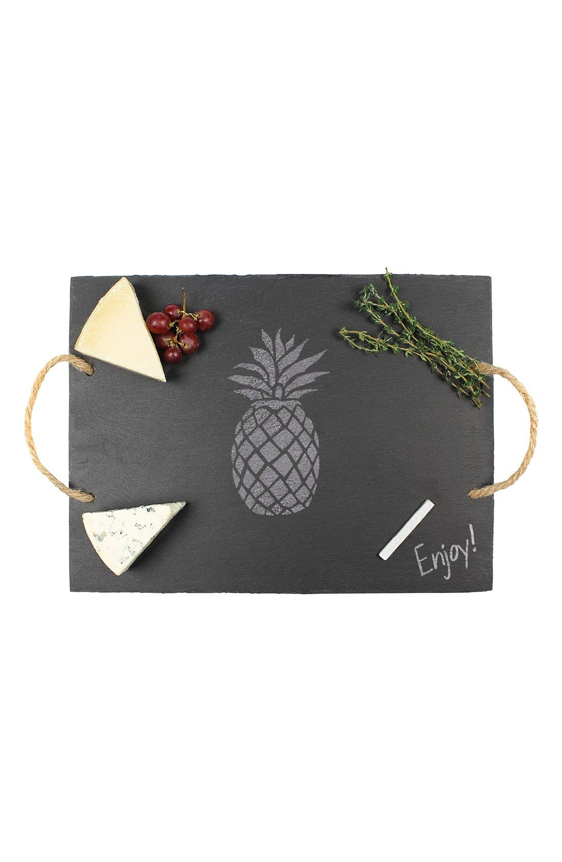 Pineapple Slate Serving Tray,                             Alternate thumbnail 4, color,                             020