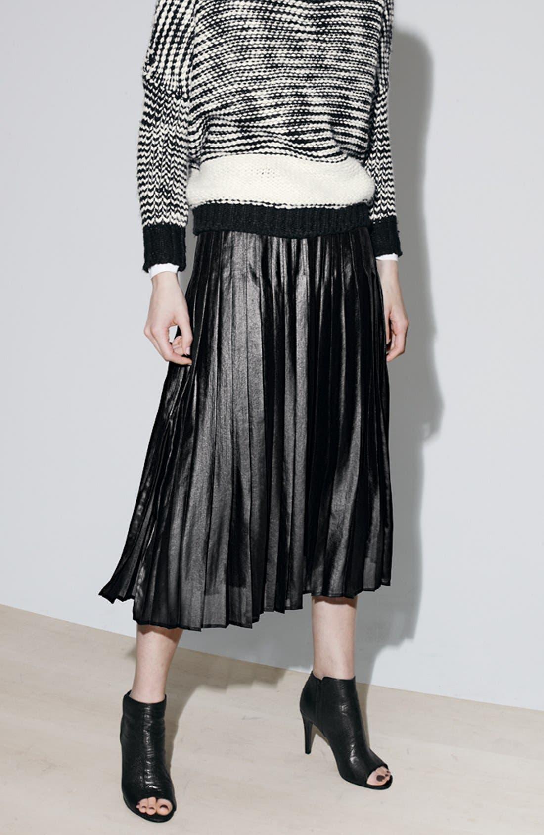 Pleat Midi Skirt,                             Alternate thumbnail 8, color,                             001