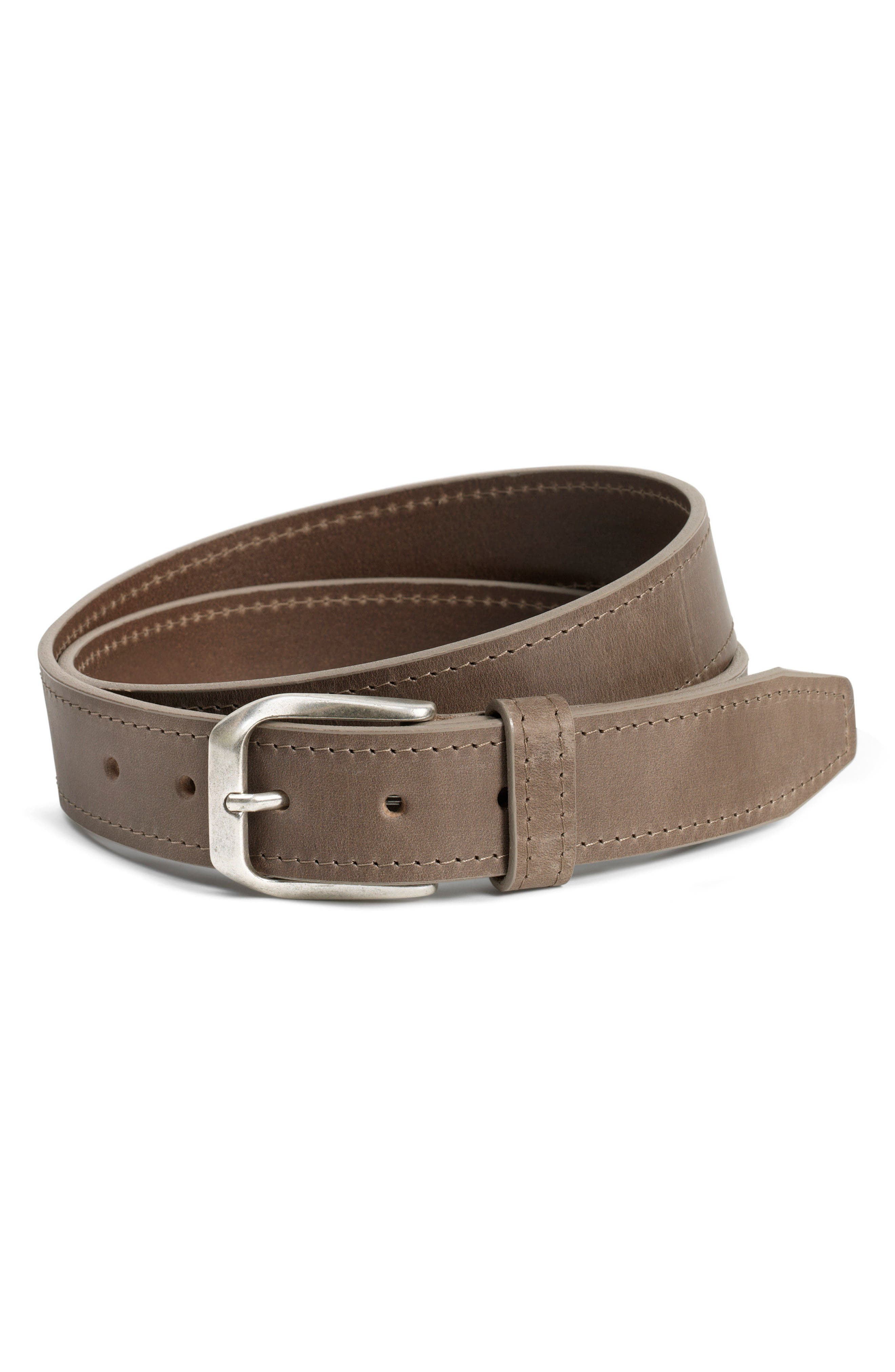 Trask Darby Leather Belt, Grey