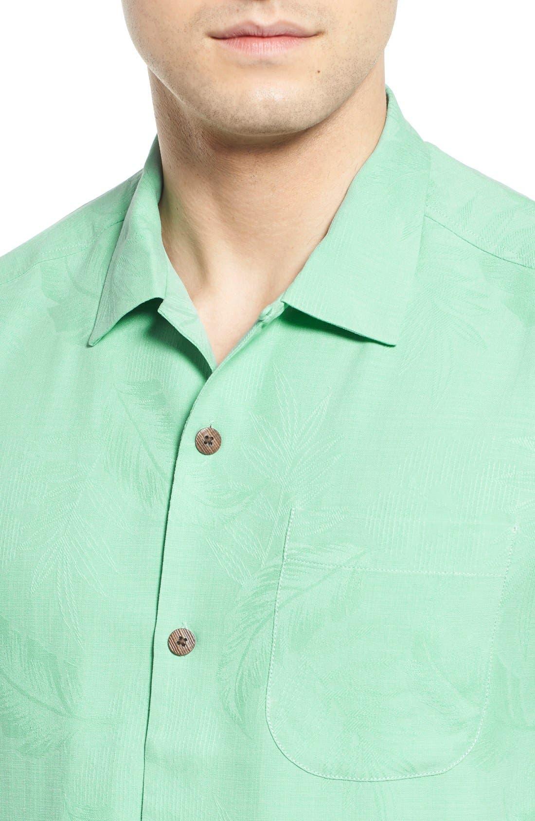 Rio Fronds Short Sleeve Silk Sport Shirt,                             Alternate thumbnail 53, color,
